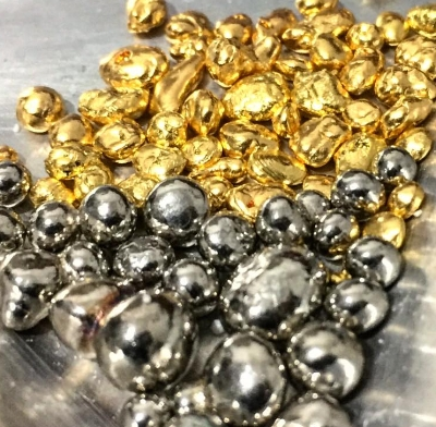 24k gold casting grain and alloy mix to create 14k white gold.