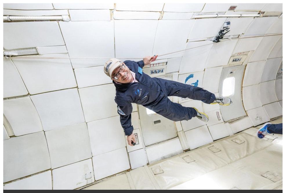 Charles Fishman floating around at Zero Gravity.