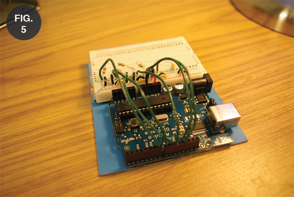 Different angle on the Arduino board in the main physical body.