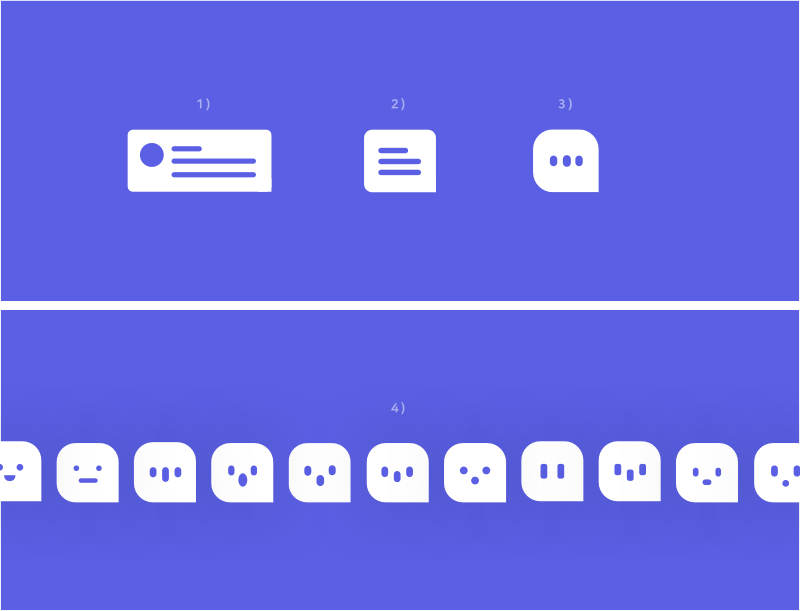 1– 3) Progression from notification to an app icon. 4) Exploring personalities for the app icon.