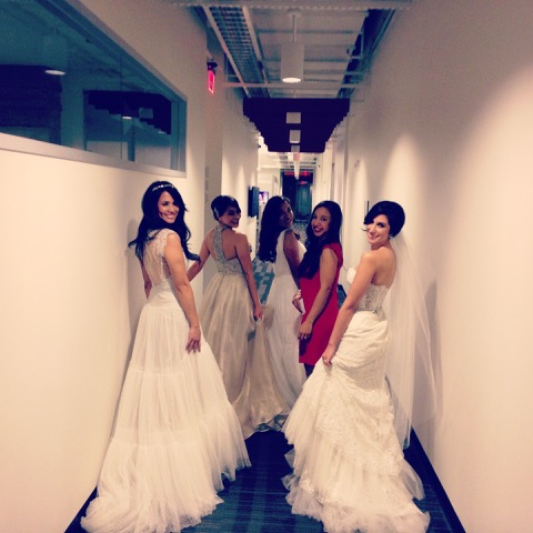 About to enter the studio with models wearing Valentine's Day bridal trends