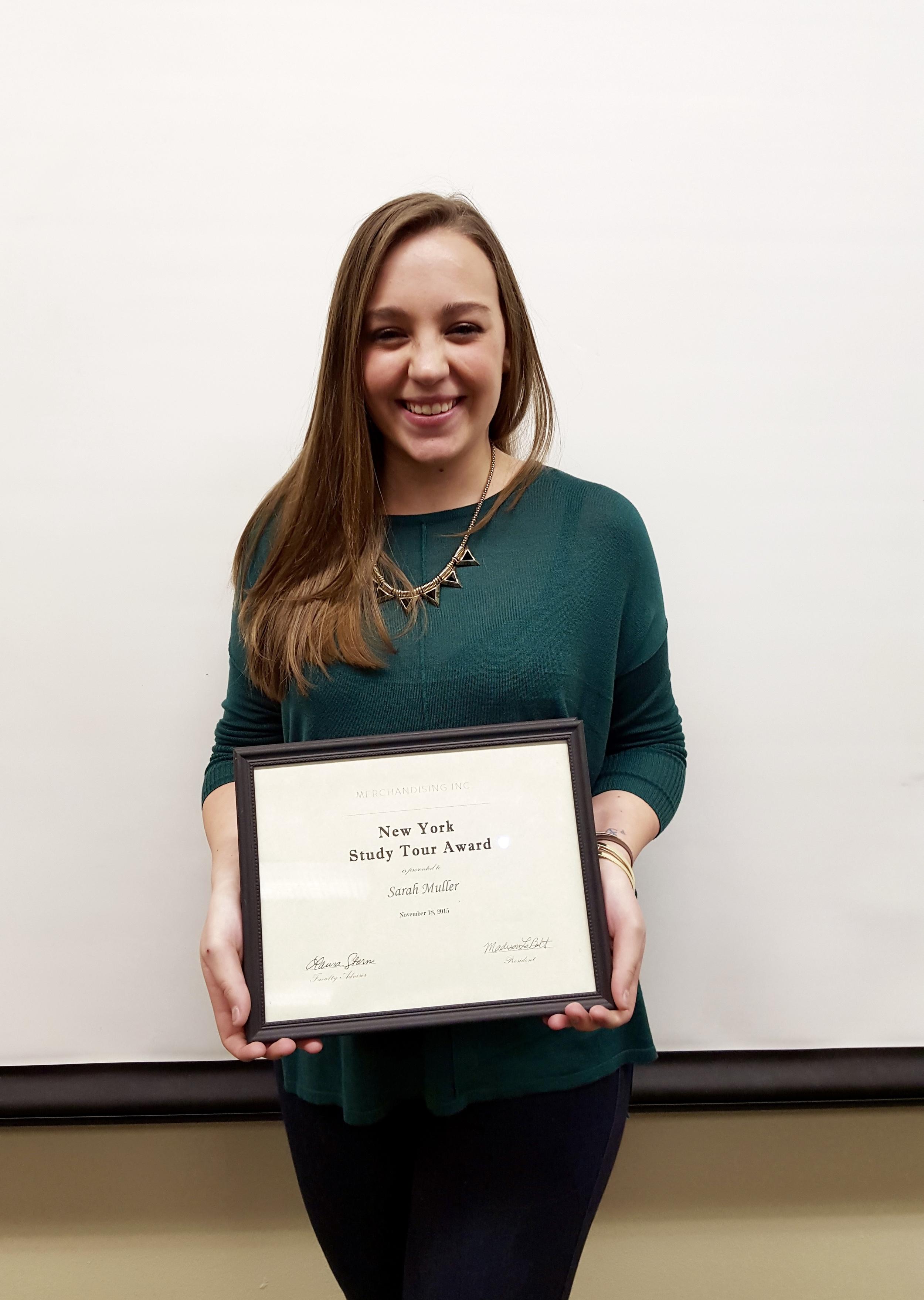 Sarah Muller, New York Study Tour Scholarship Recipient 2016