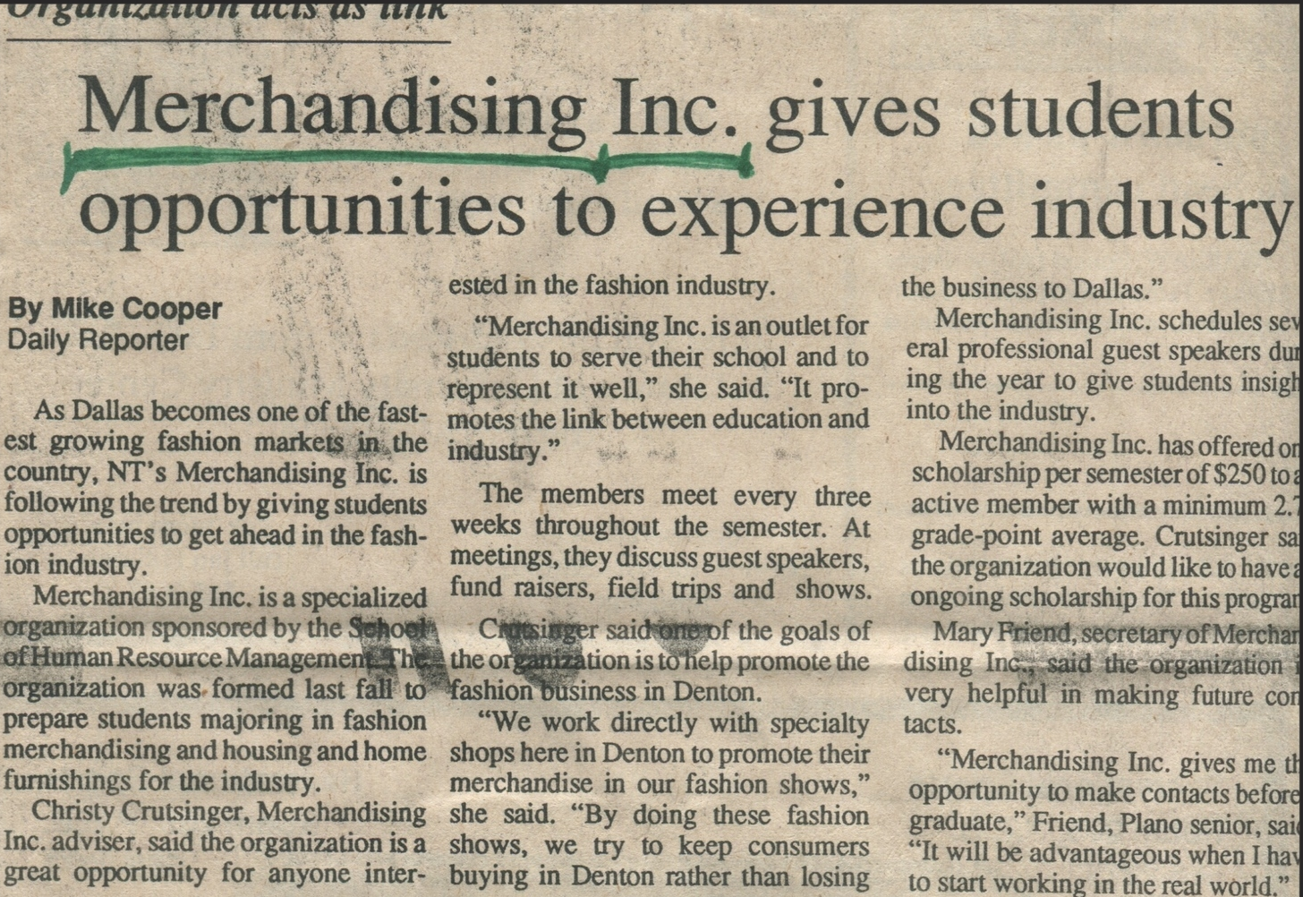 """""""Merchandising Inc. gives student opportunities to experience industry"""" (1989)- Mike Cooper"""