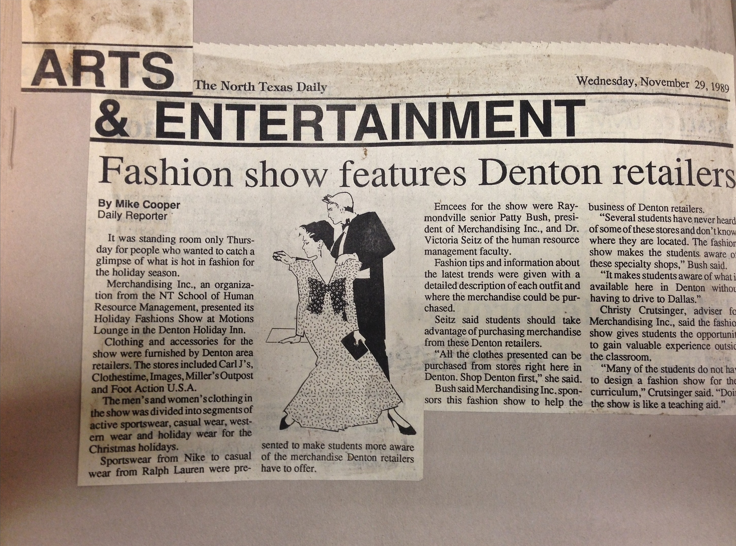 """""""Fashion show features Denton retailers"""" (1989)- Mike Cooper"""