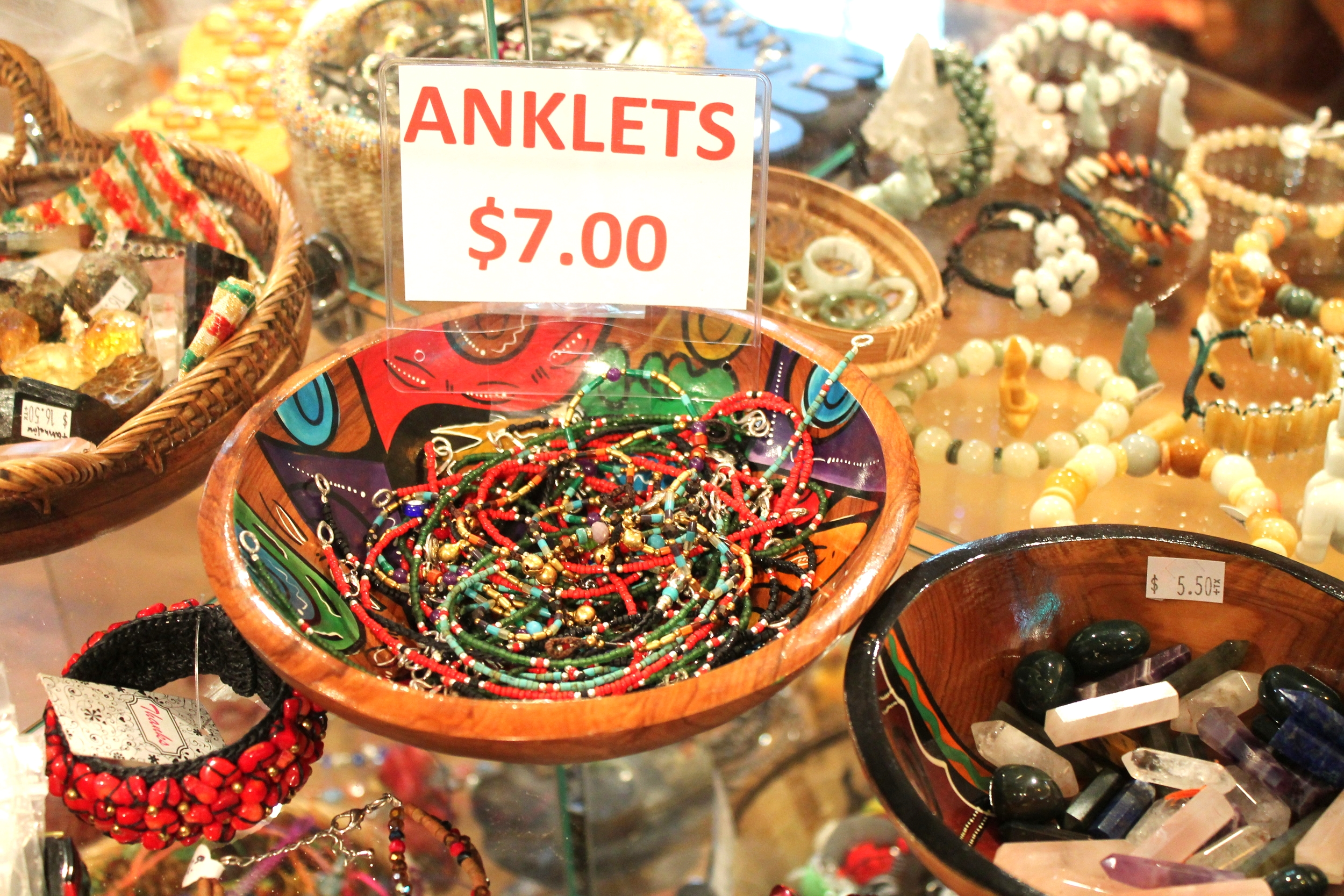Anklets hand crafted especially for Juliet's Jewels in Nepal. The beads are made of real turquoise, coral, onyx, etc.