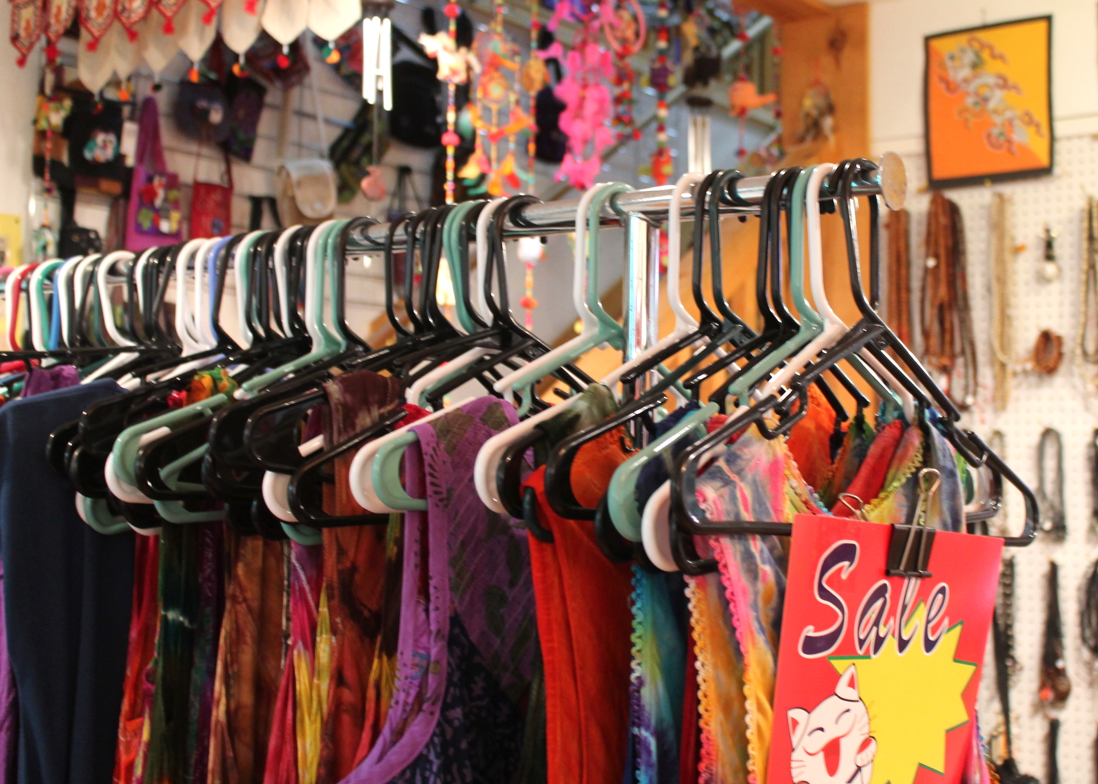 Since the store's stock is dependent on Juliet's travels, many items are often put on sale to make room for newer styles.