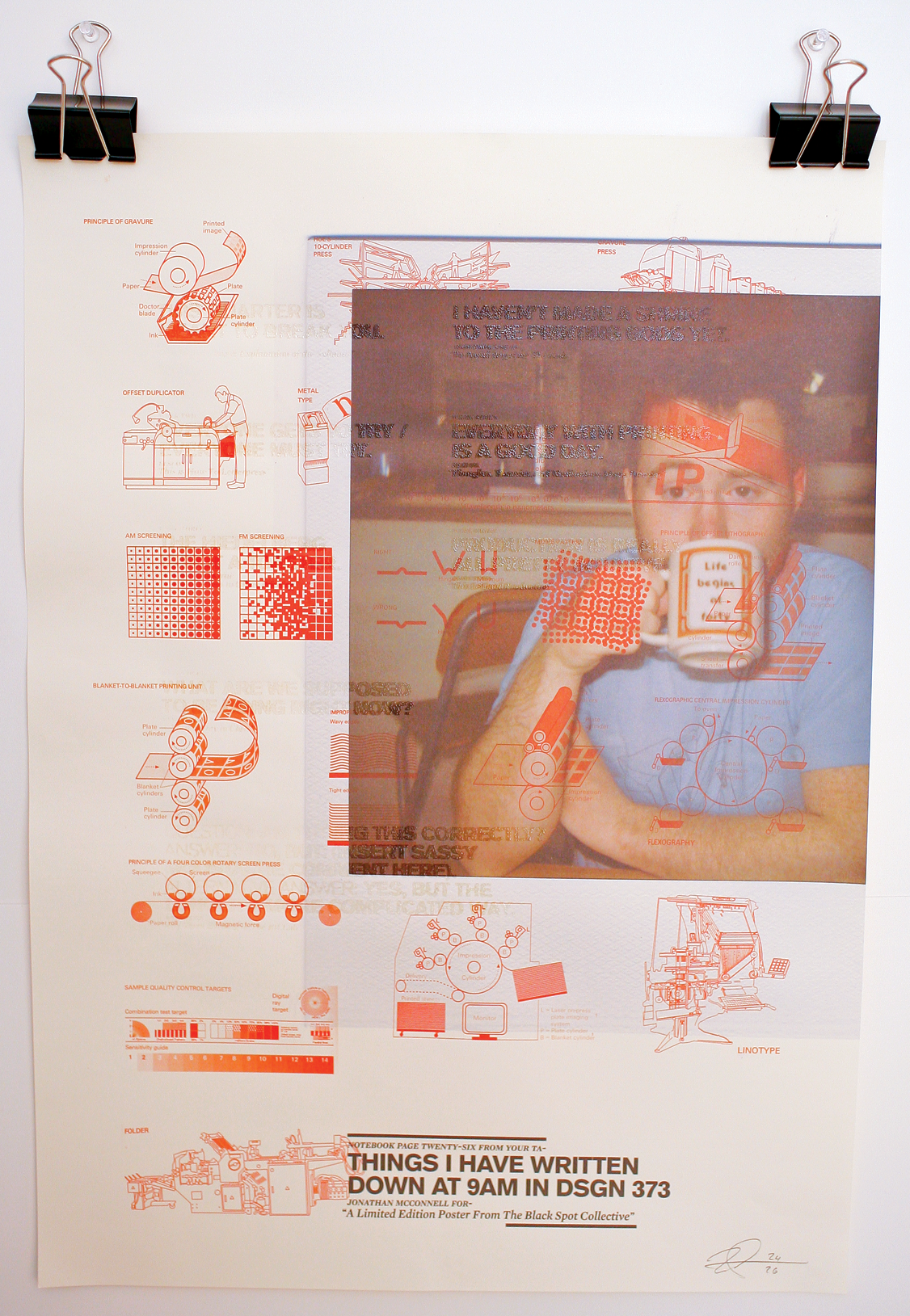 Scanned self-portrait, large format Epson print, with screen printed clear thermographic lettering.