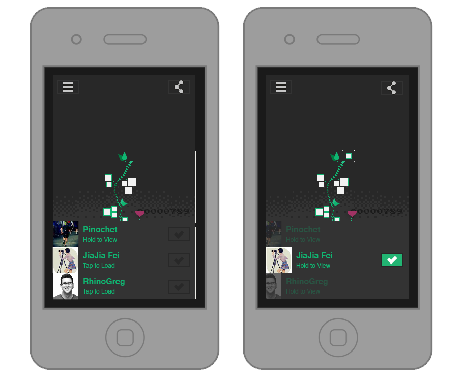 Play screen for mobile with a hold-to-play and tap-to-vote mechanic. Right: new video winner, tracking all your winning videos (with hashtag combos).