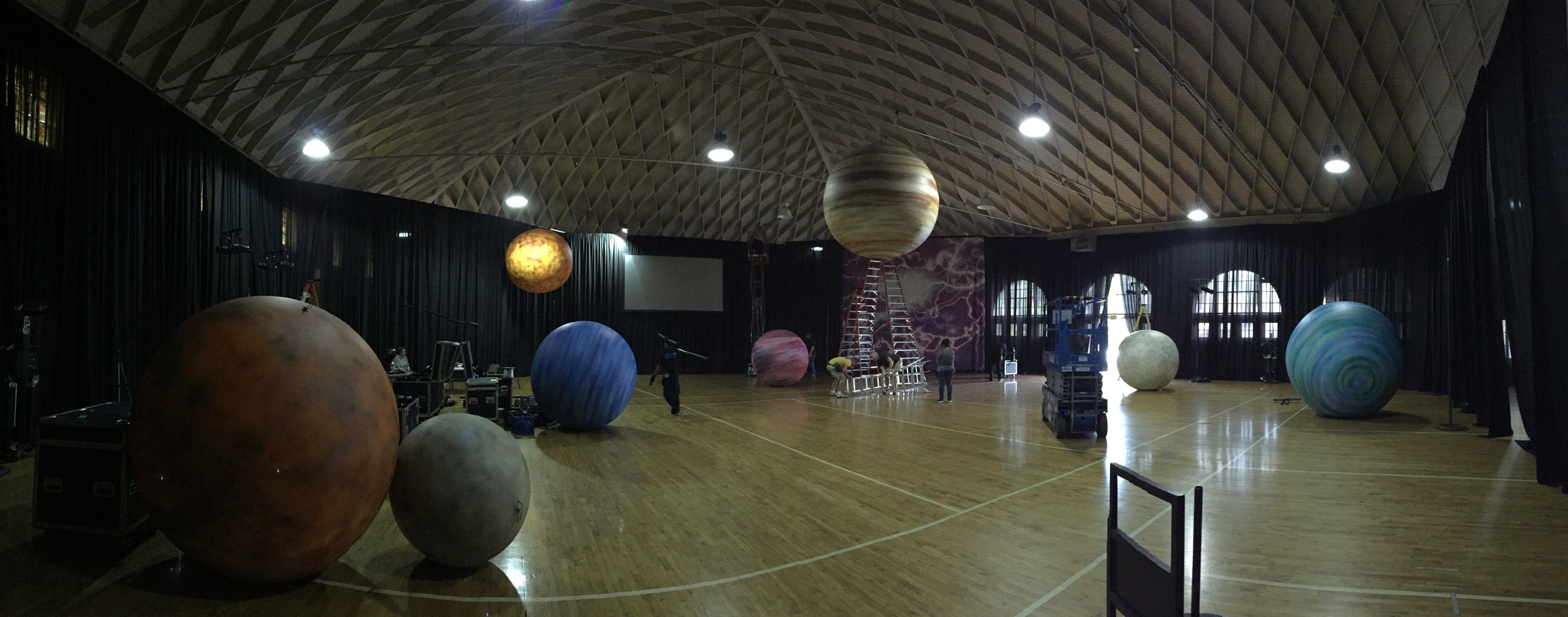 Planets by Matthew McAvene Santa Barbara Museum of Natural History 100 year Anniversary Party Set up 1.JPG