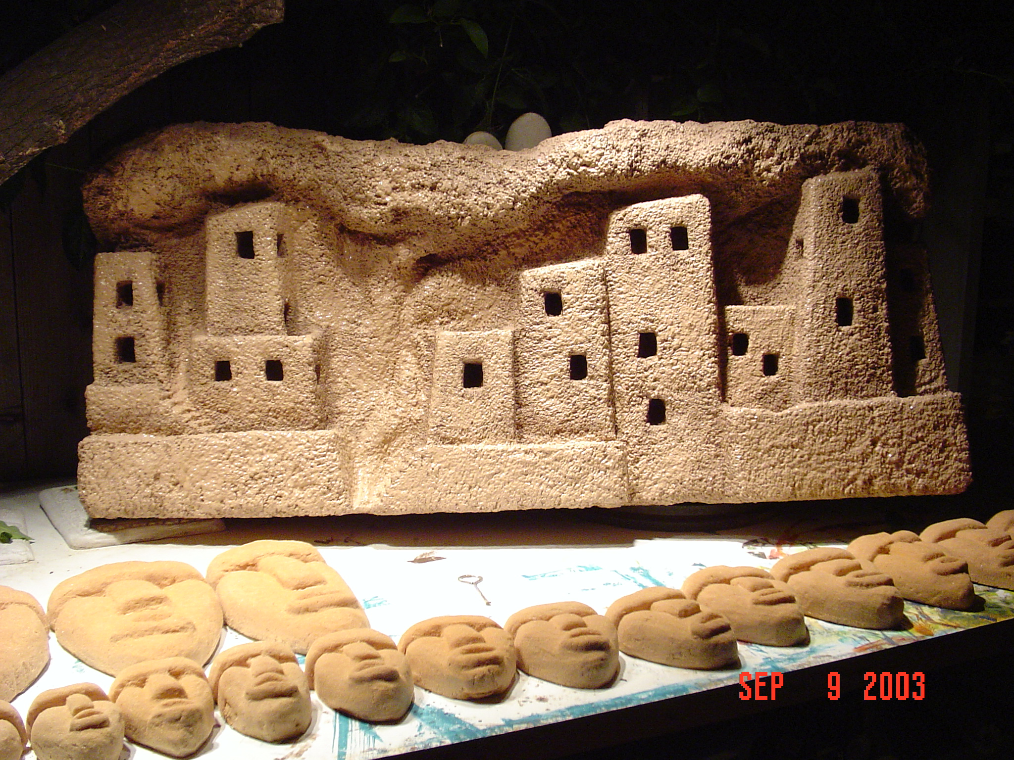 Mesa Verde Foam Sculpted Fountain with light up windows by Matthew McAvene Creations.JPG