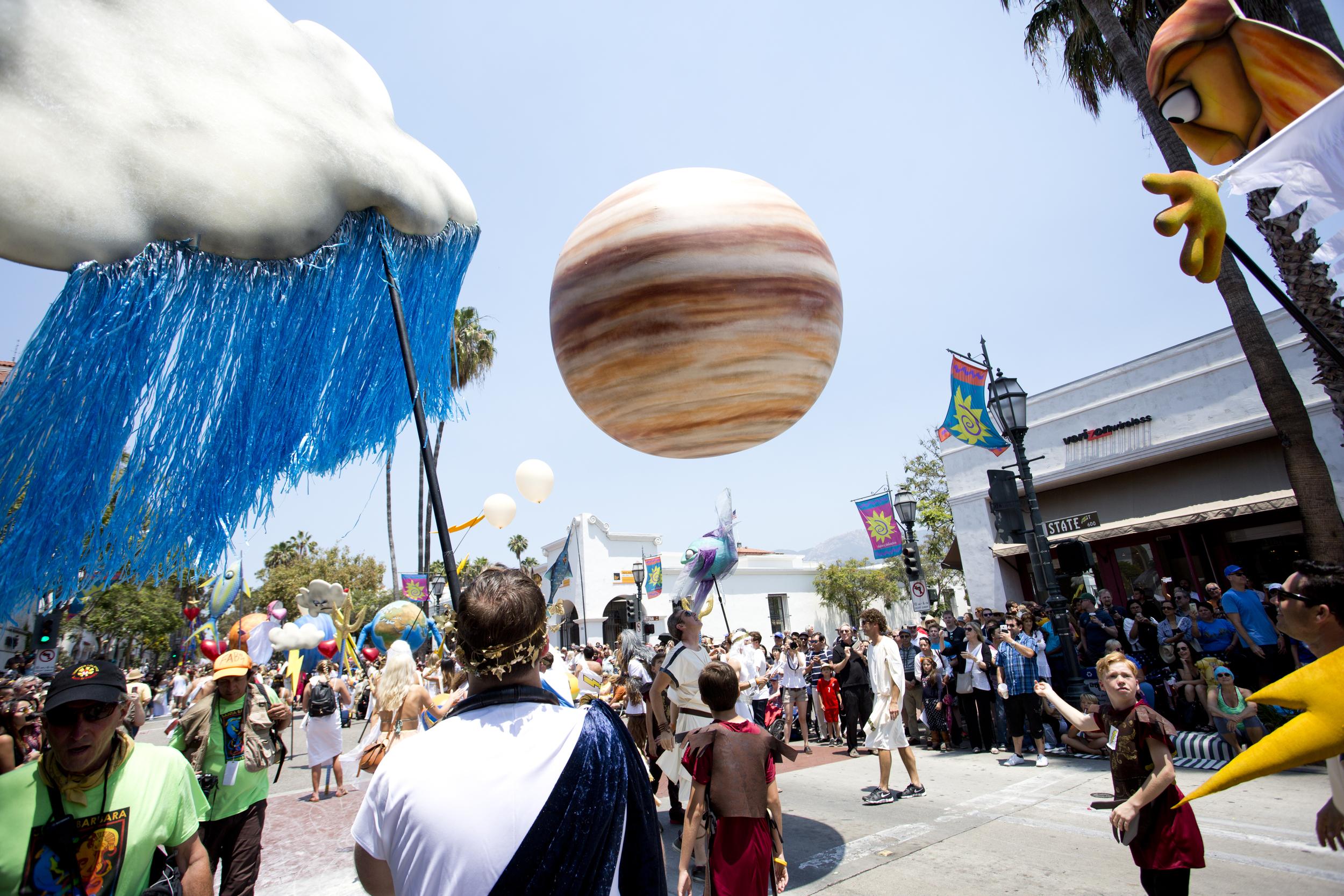 Giant Jupiter Bouncing Ball by Matthew McAvene for Santa Barbara Solstice Parade
