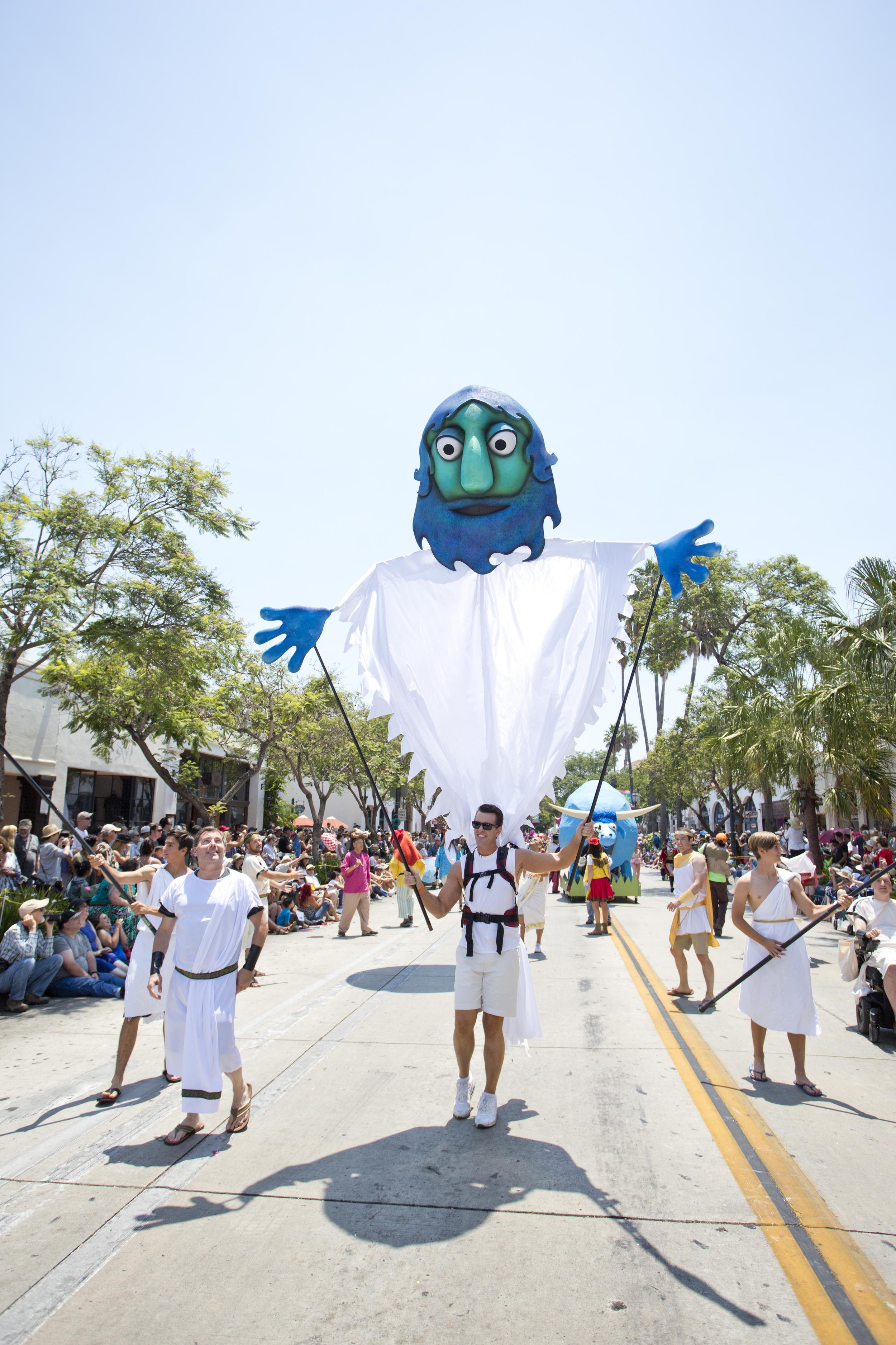 Giant Poseidon Puppet by Matthew McAvene for Santa Barbara Solstice Parade