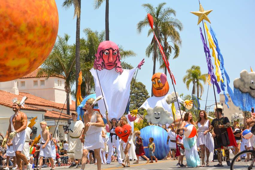 Giant Parade Puppets and Props by Matthew McAvene for Santa Barbara Solstice Parade