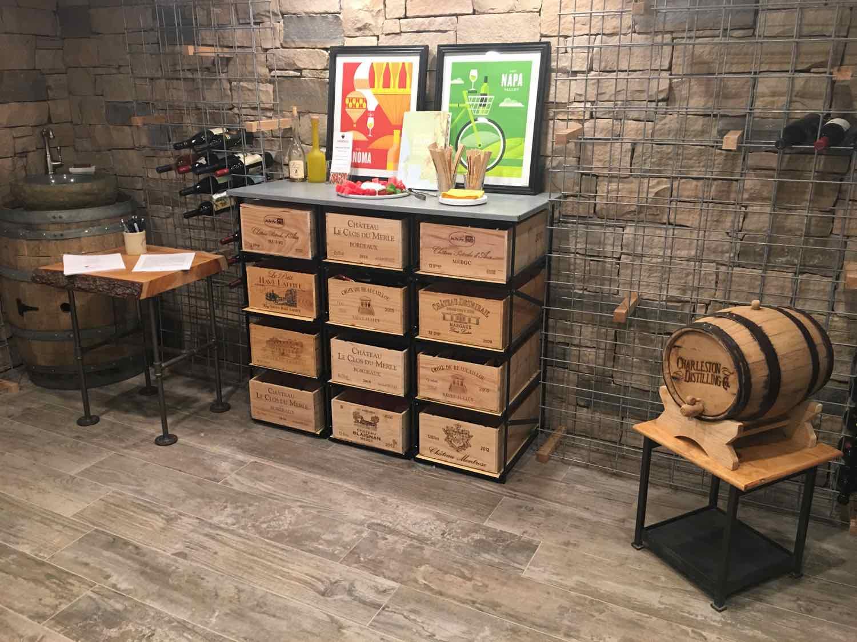Wine storage in the cellar