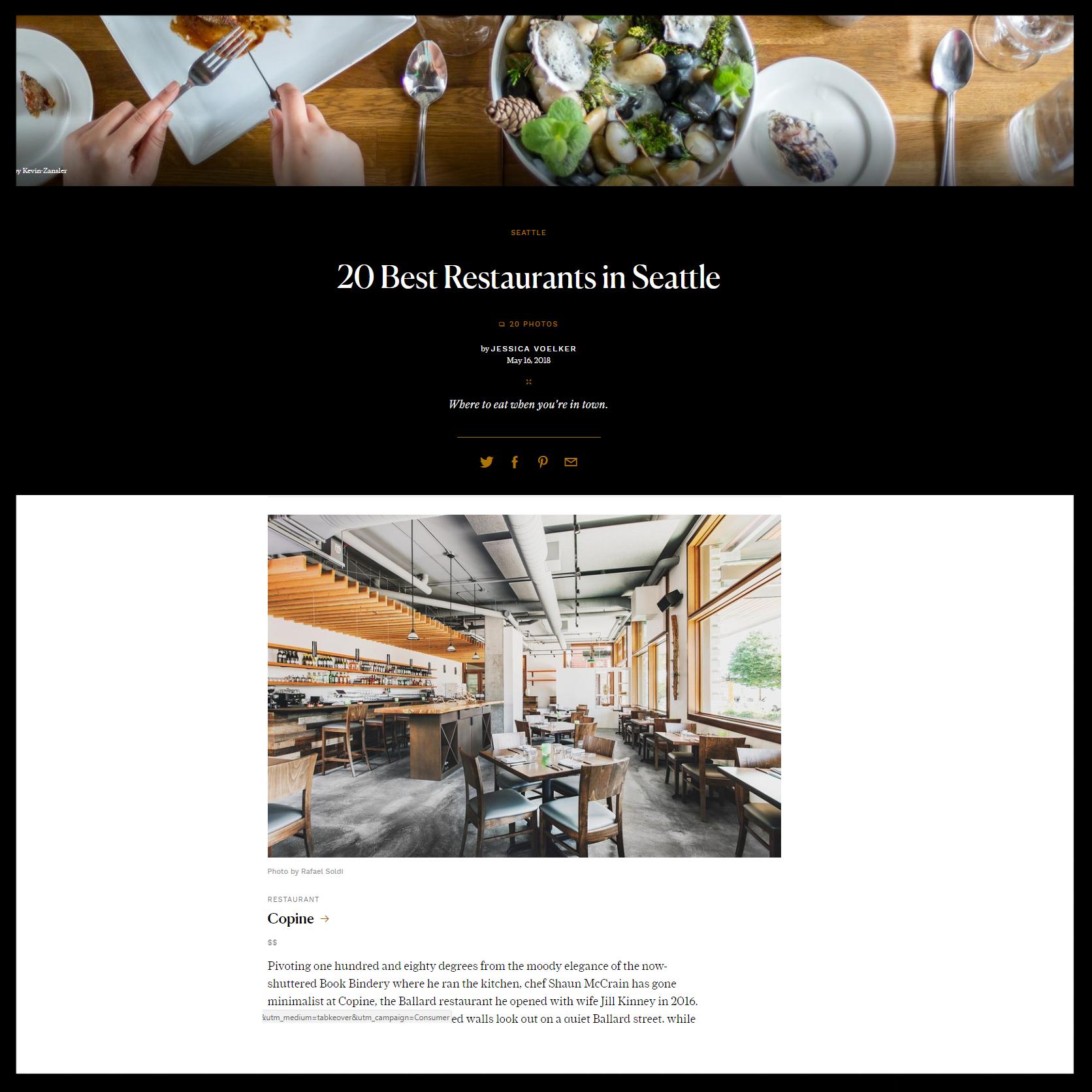 "Condé Nast Traveler   May 2018   "" 20 Best Restaurants in Seattle """
