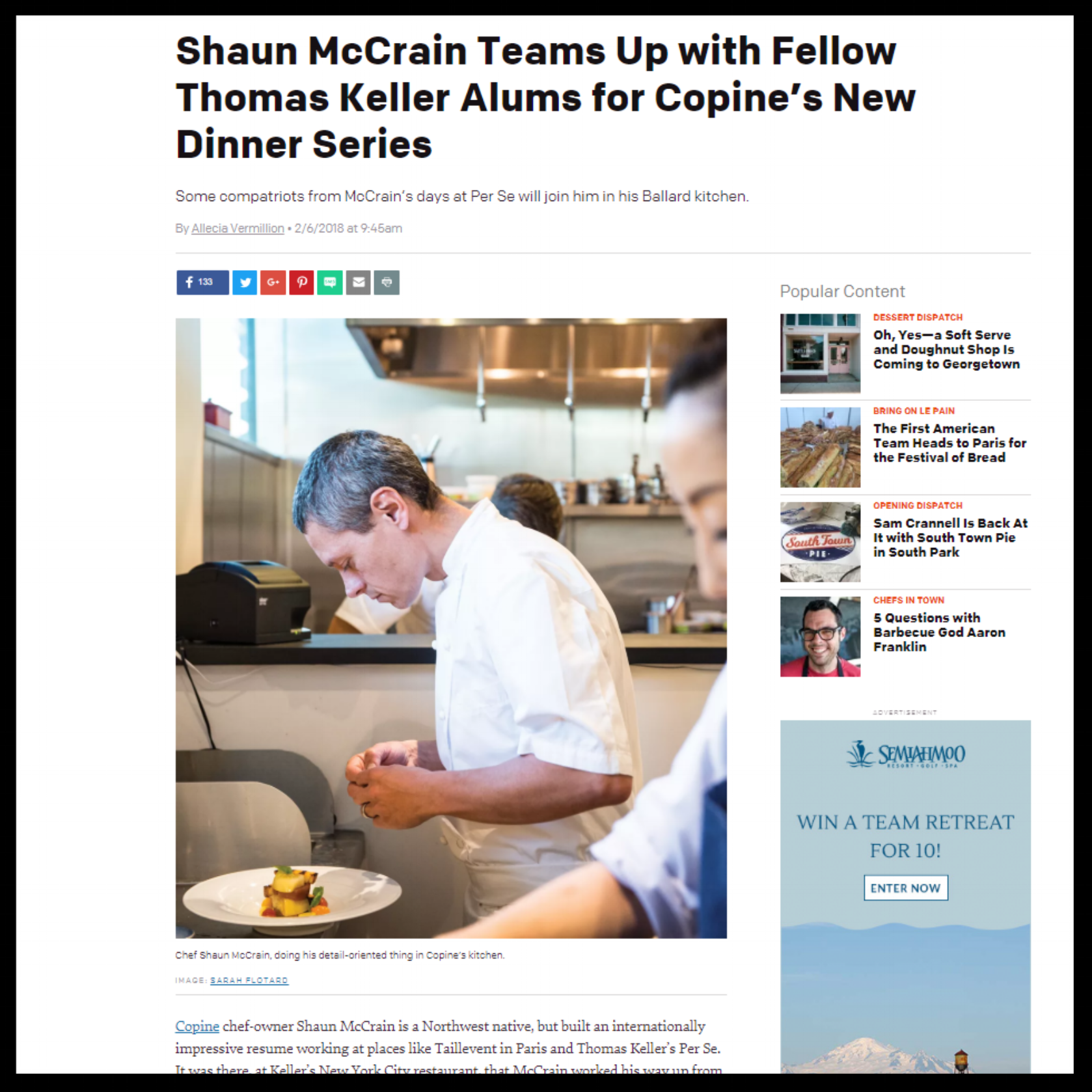 """Seattle Met   February 2018  """"Shaun McCrain Teams Up with Fellow Thomas Keller Alums for Copine's New Dinner Series"""""""