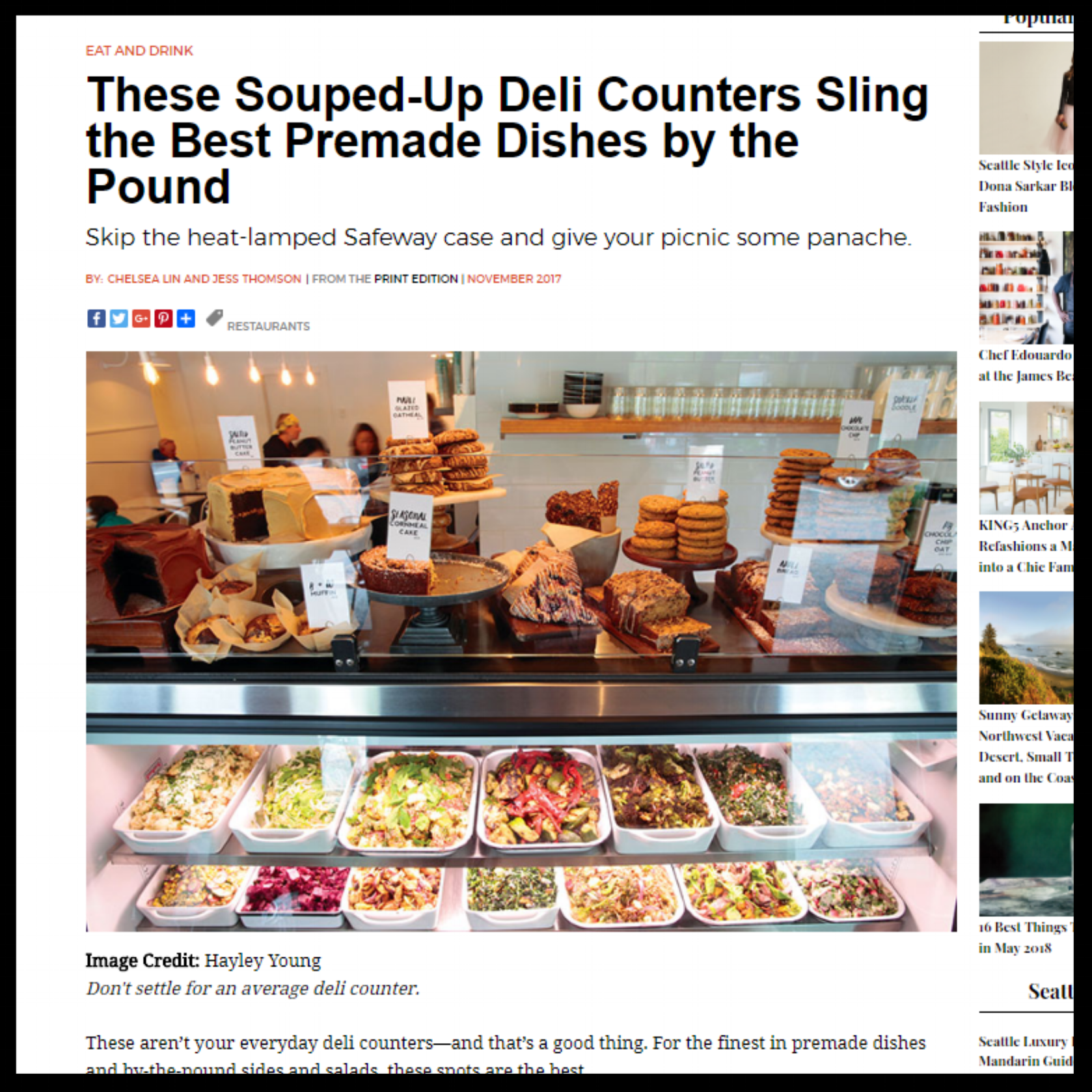 """Seattle Magazine   November 2017  """"These Souped-Up Deli Counters Sling the Best Premade Dishes by the Pound"""""""
