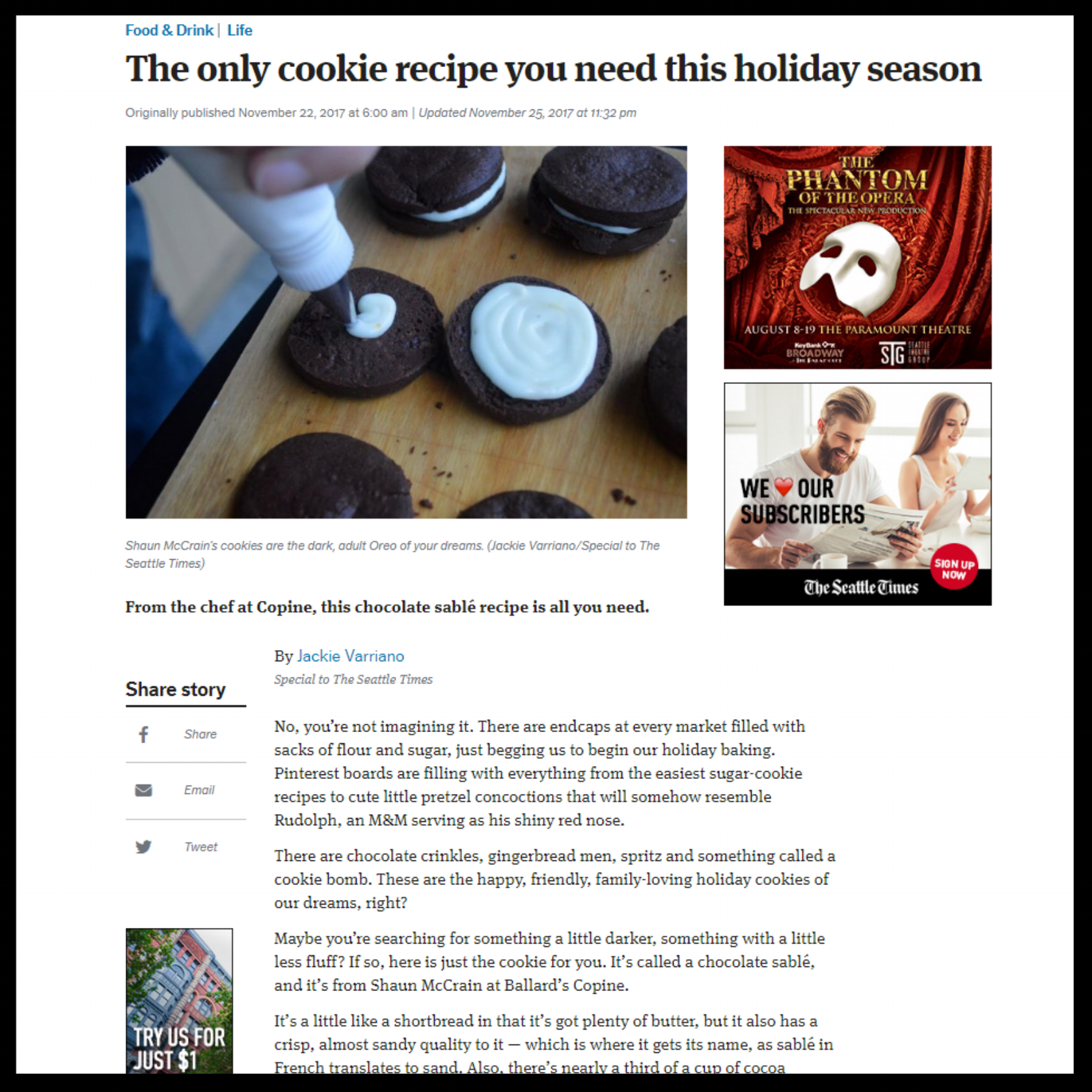"""Seattle Times   November 2017  """"The only cookie recipe you need this holiday season"""""""