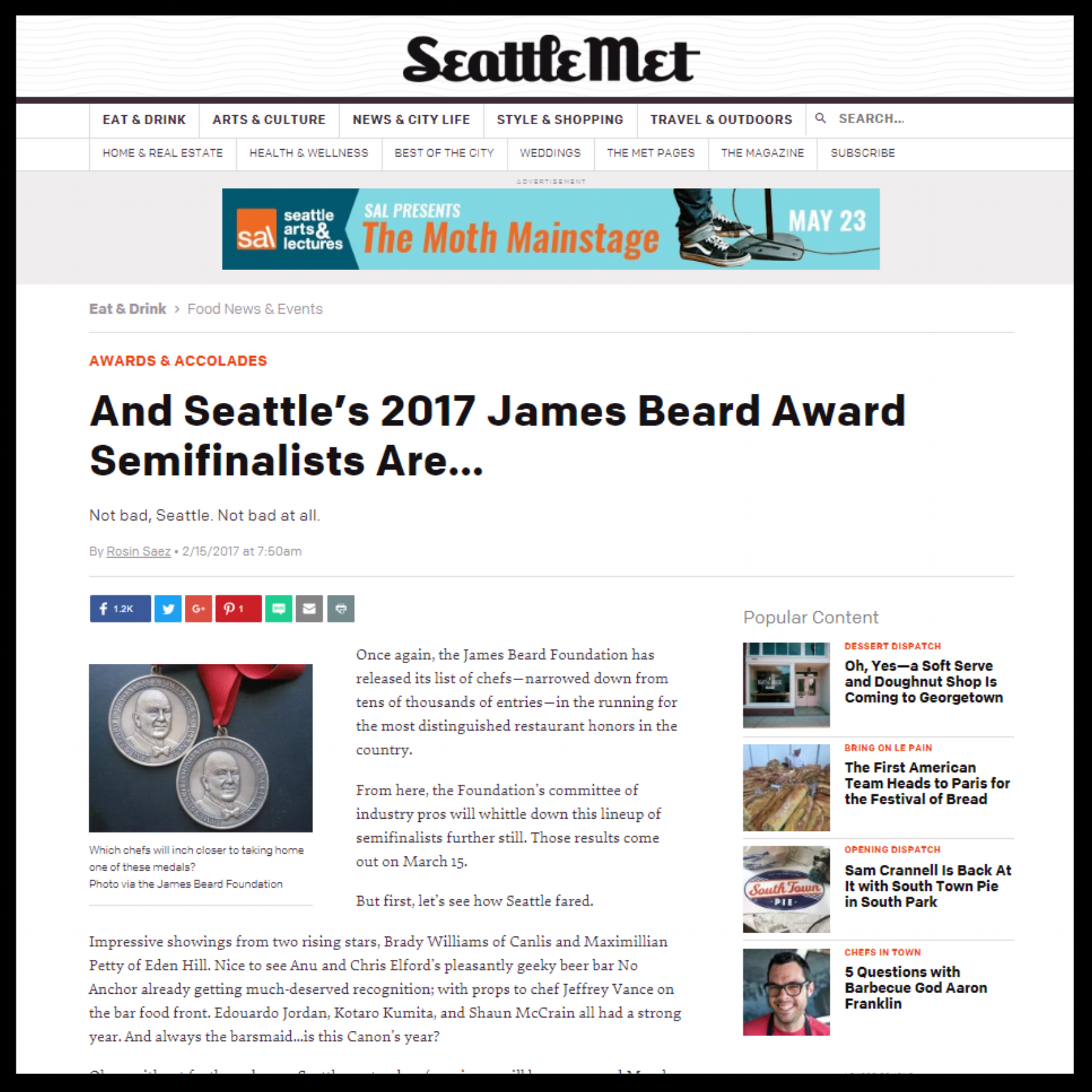 """Seattle Met   February 2017  """"And Seattle's 2017 James Beard Award Semifinalists Are..."""