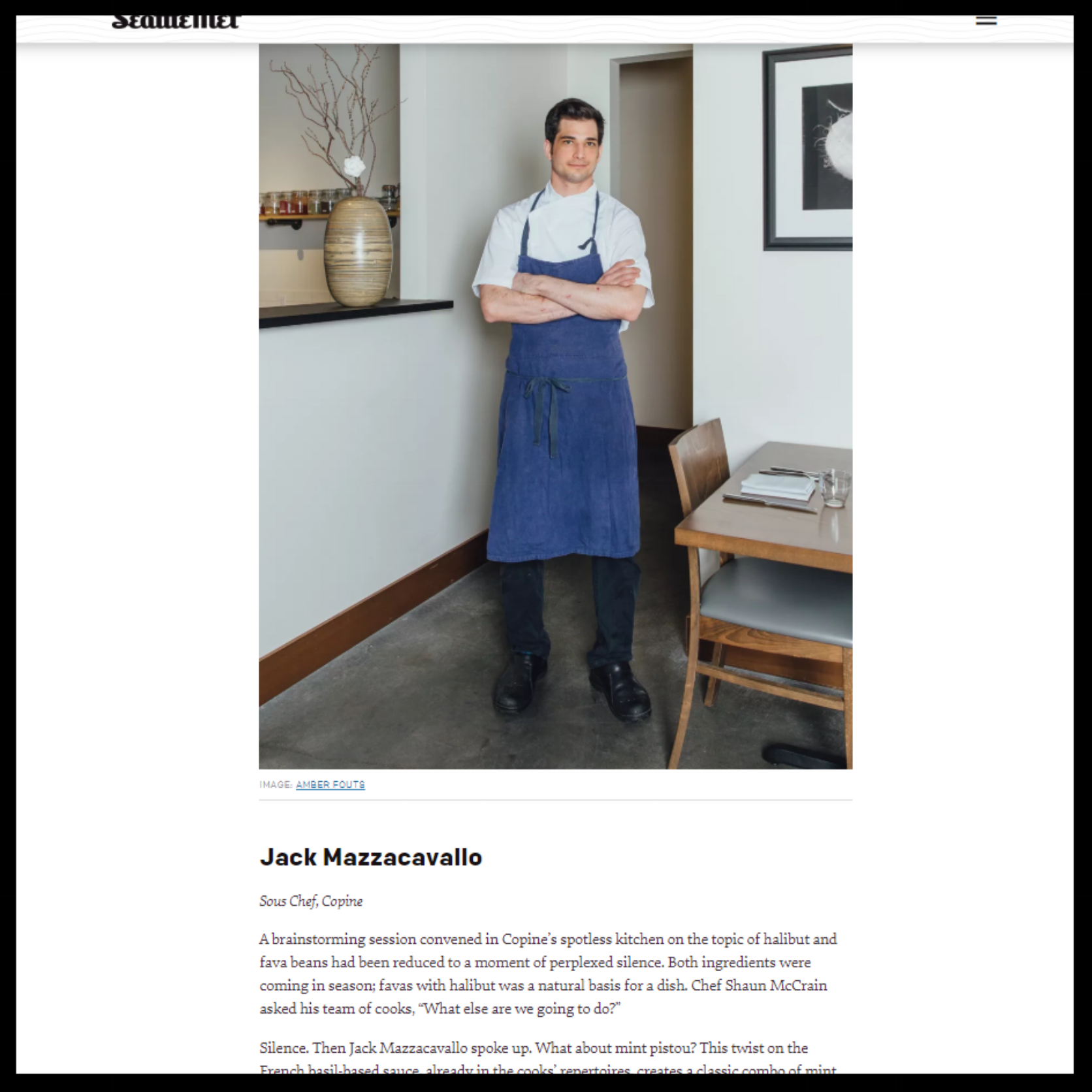 """Seattle Met   May 2018  """"Seattle's Next Hot Chefs 2018"""""""
