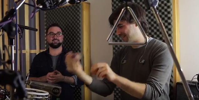 Here's me teaching a nice Swiss chap called Daniel how to play an egg shaker!