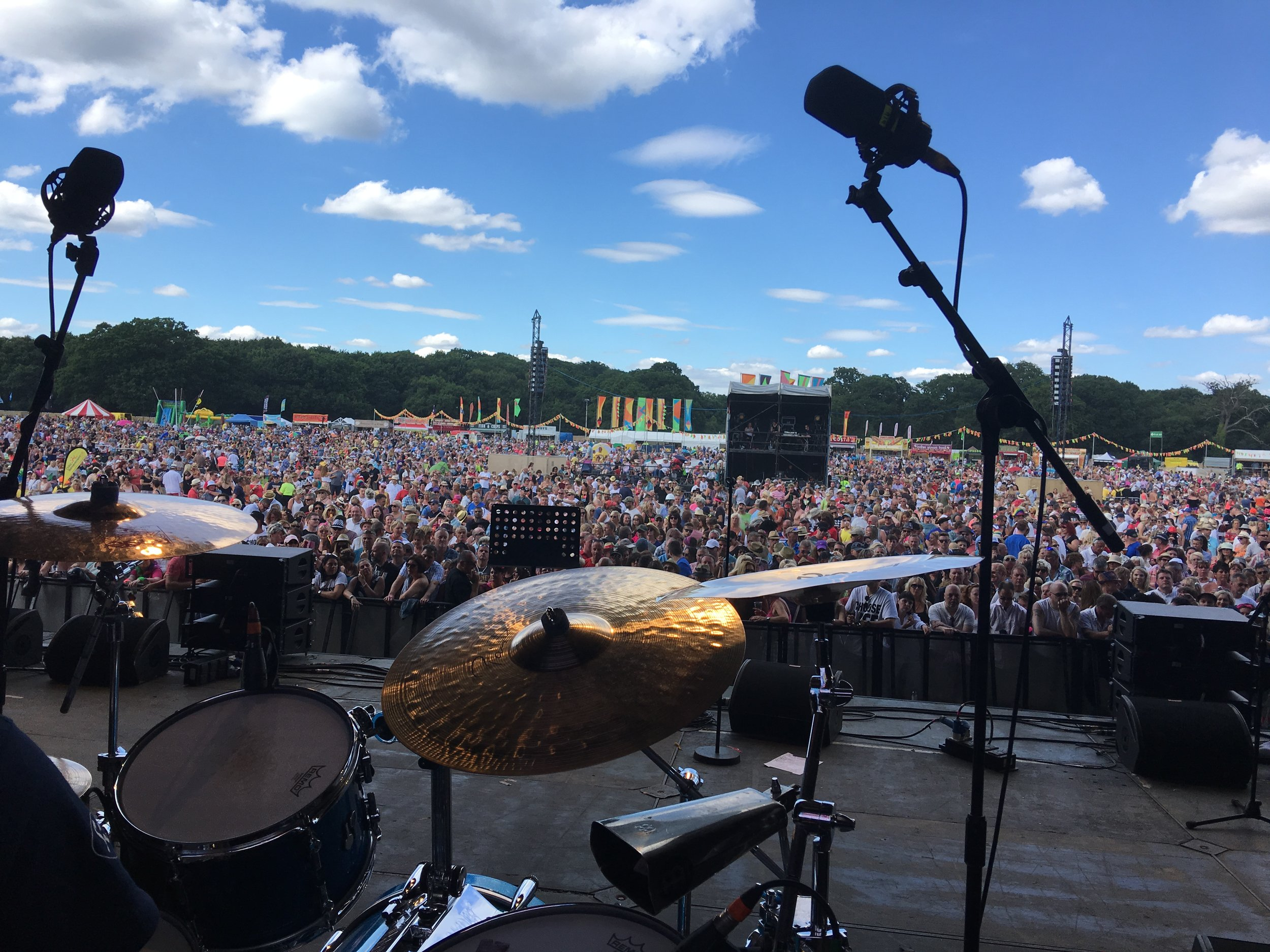 My view from the kit with Kid Creole & The Coconuts (Coconuts not yet on stage).