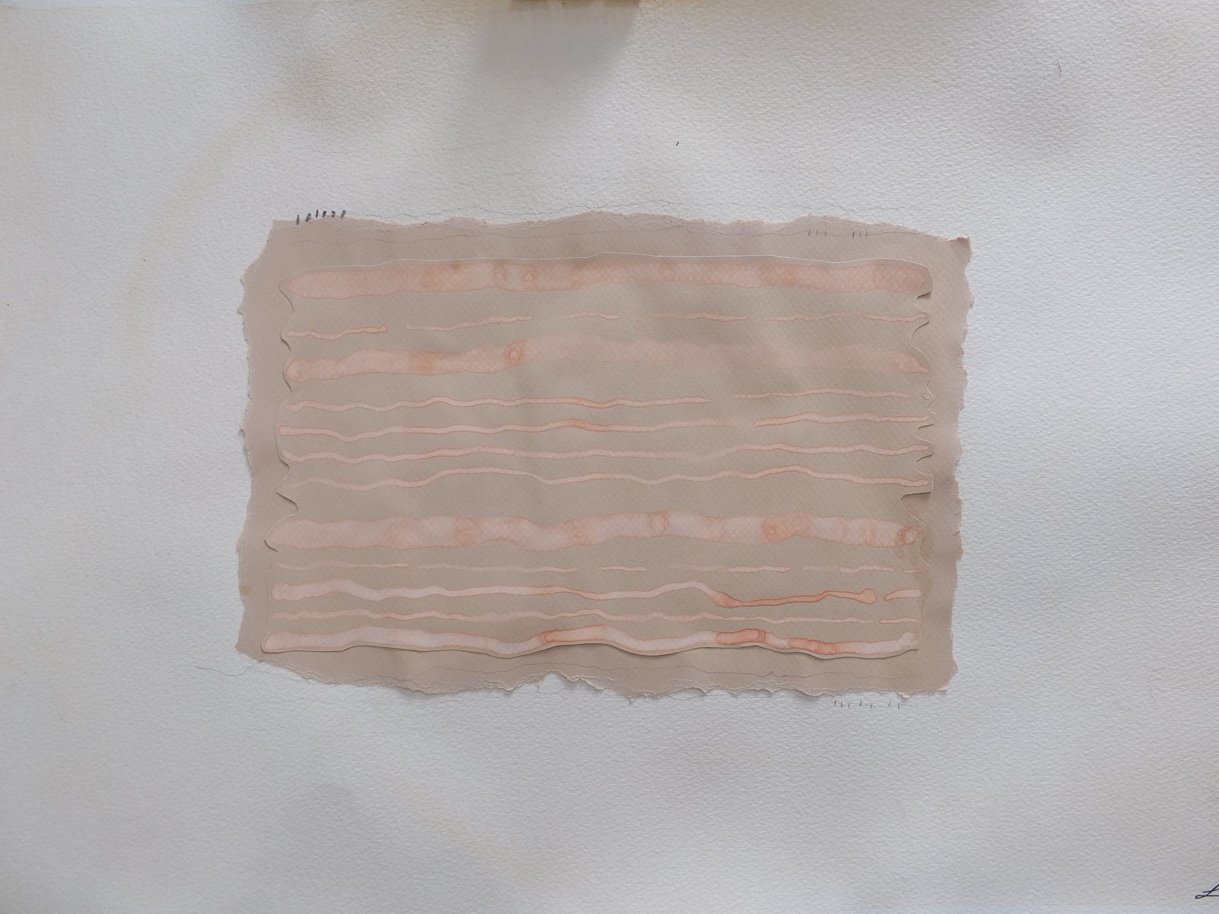 Edges, Lines (o.c.d.)  Gouache, watercolour, pen, pencil, crayon and collage on paper.  64cm x 47cm, framed in Tasmanian oak.  $650~