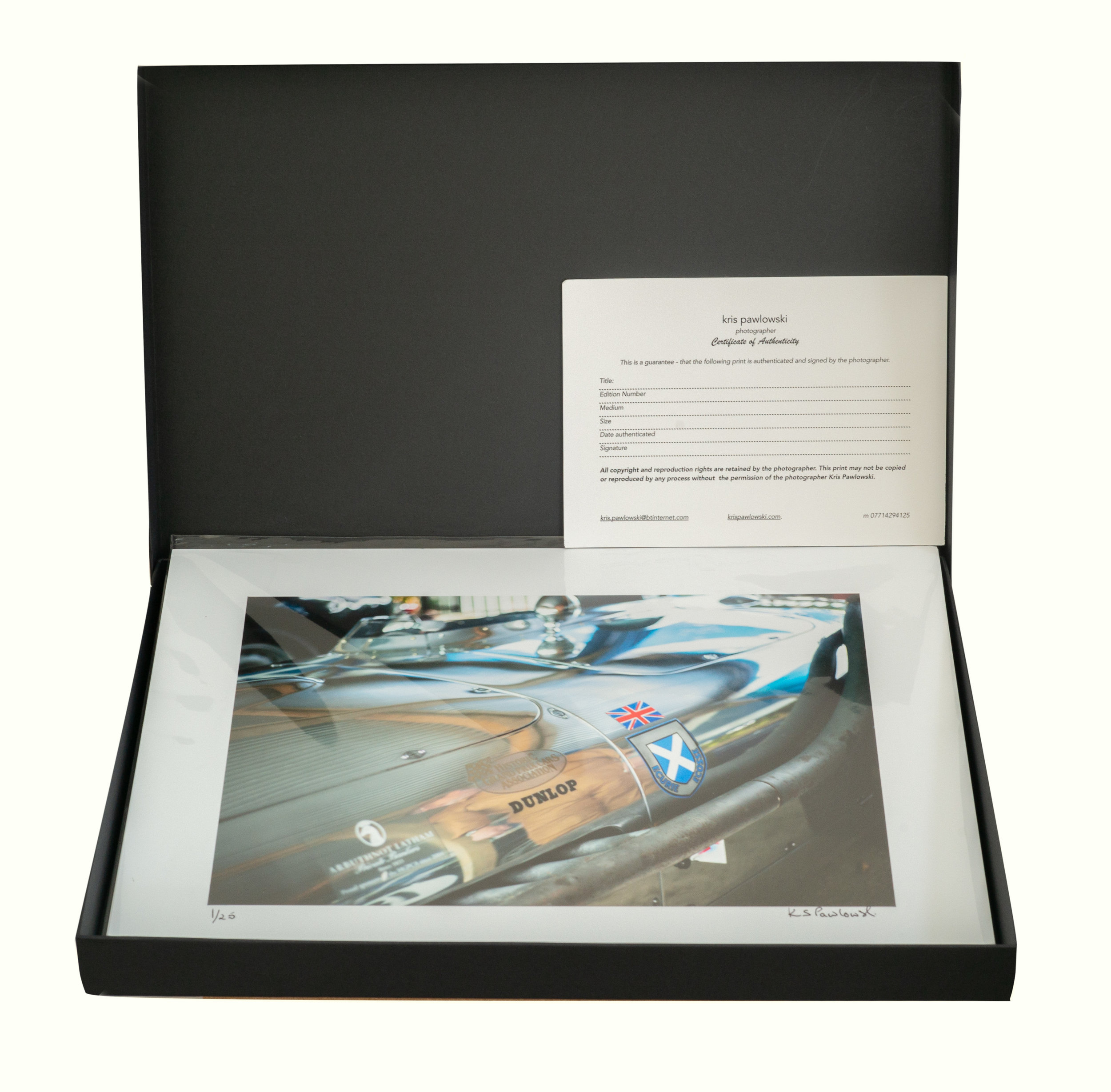 Your print comes in a smart black photo presentation box, with a certificate of authentication.    Delivery for the UK will be Royal Mail Standard 1st Class. For international deliveries, it will be Royal Mail International Standard.