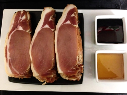 Free range oak smoked back bacon. This has been dry cured then marinated in molasses and honey before being smoked in our new smokehouse.