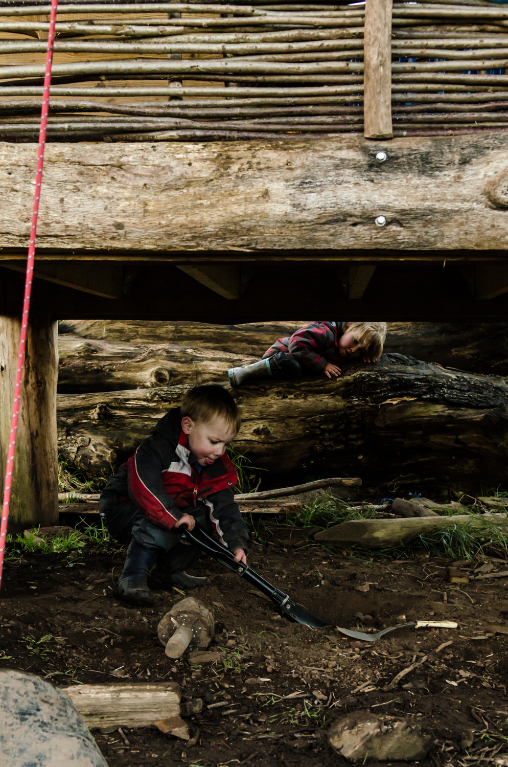 """""""I wonder if I'll dig up some treasure?"""" - Tools play a pivotal role in Forest School, whether it's a hammer, a stick or paintbrush. They open up opportunities for many facets of development and learning."""