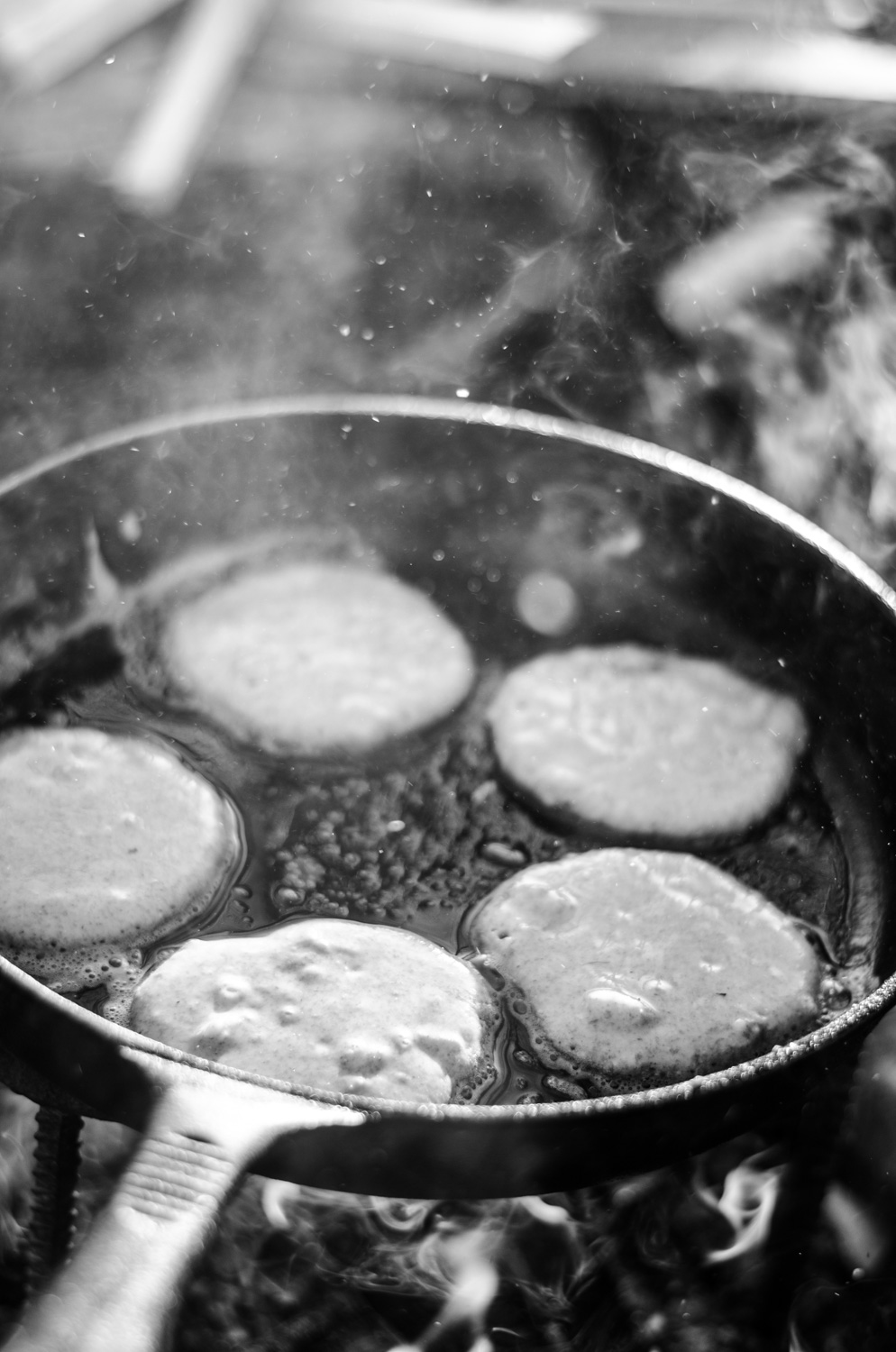 """""""What can you see happening in the pan?"""", """"What can you smell?"""", """"What noises can you hear?"""" """" Do the pancakes melt like the butter? """" - The processes of cooking go much deeper than the simple mechanics we take for granted. It's important to talk through these extra sensory experiences with the children to help aid their understanding and ultimately their enjoyment."""