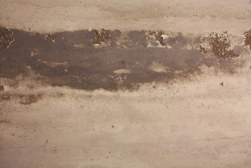 Detail of the rammed earth wall.