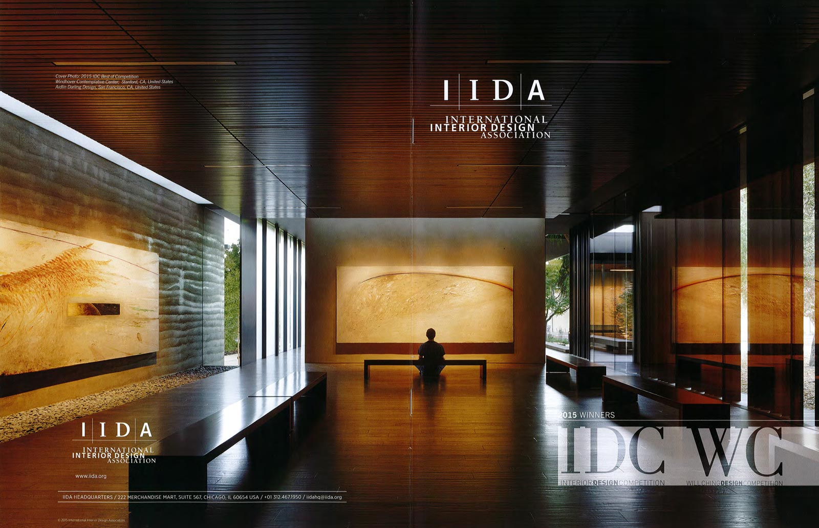The rammed earth Windhover Contemplative Center featured on the front and back cover of the awards catalog for the 2015 International Interior Design Association's Interior Design Competition.