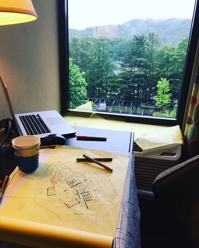 PLAAD in Asheville NC. Hotel studio. Site visit getting rained out. Great new project and clients. #plaadoffice