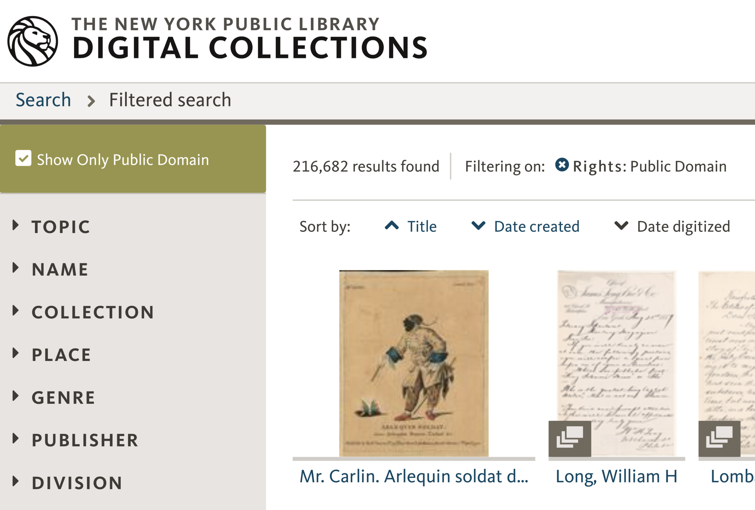 Most digital collections will contain public domain works. Filtering by license type can help you find them.