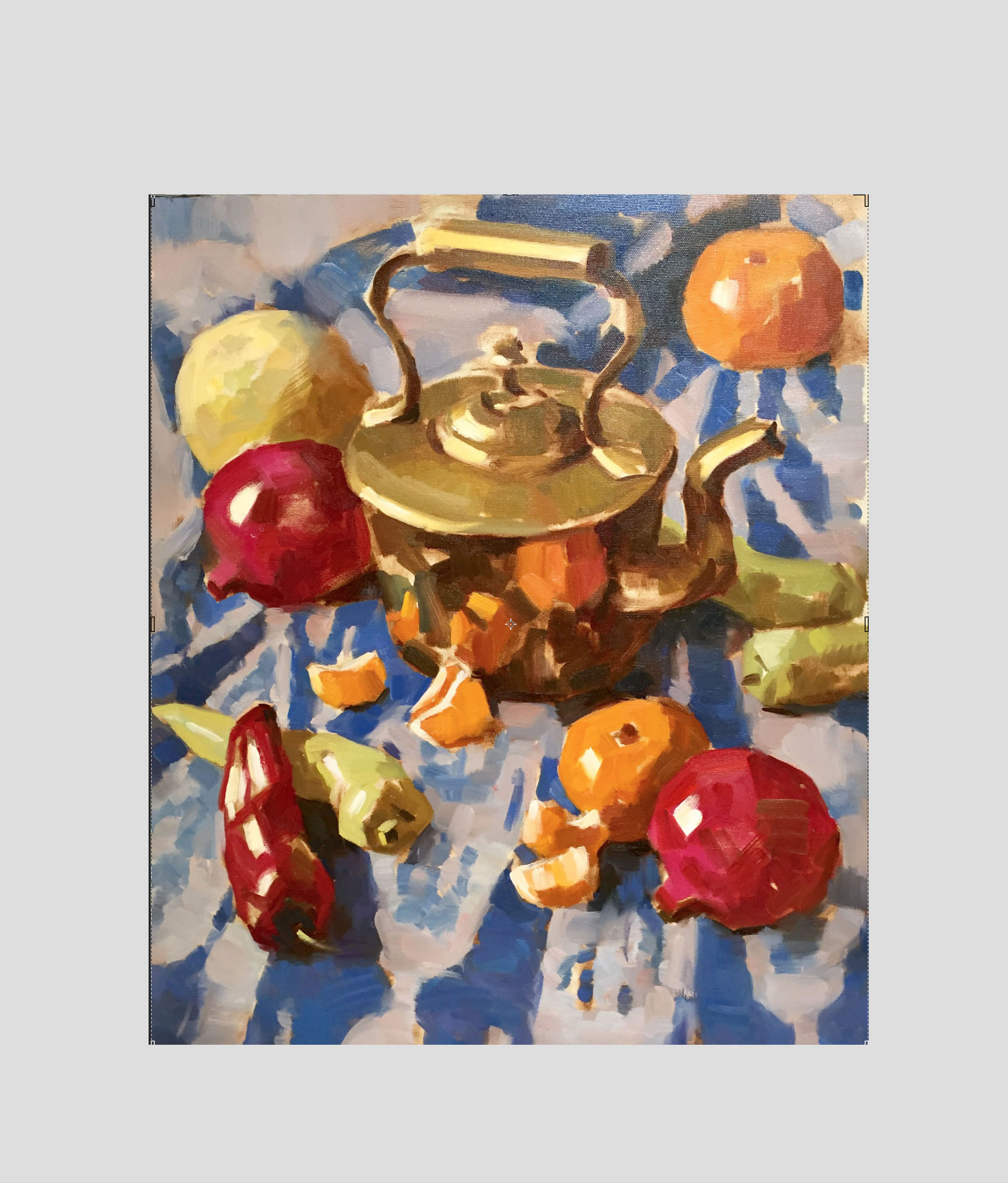 Copper Kettle with Fruits and Peppers.   Oil on Canvas   60 x 50 cm  2017