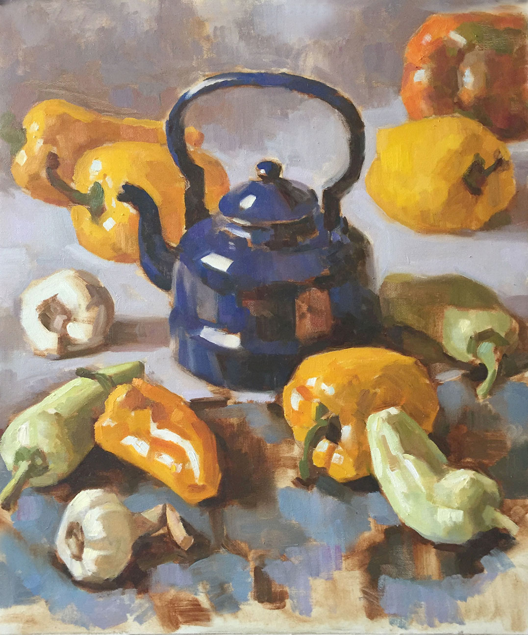 Blue Kettle with Peppers and Garlick   Oil on canvas 50 x 60 cm  2017