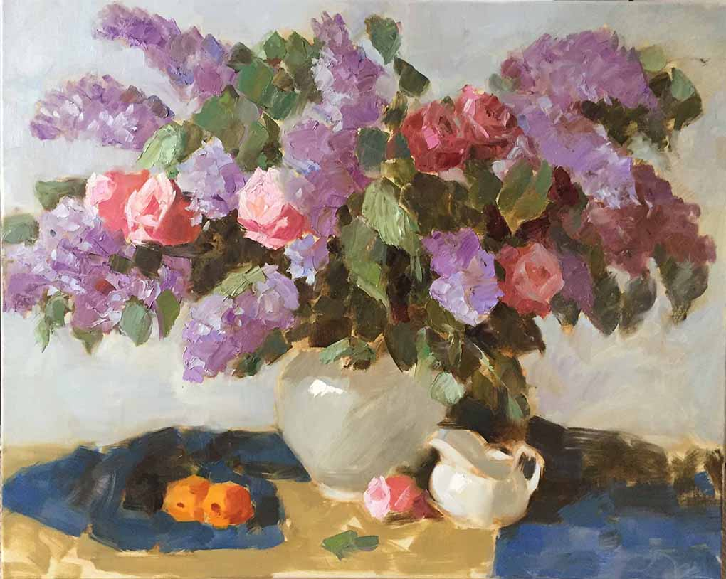 Lilac and Roses in white Vase