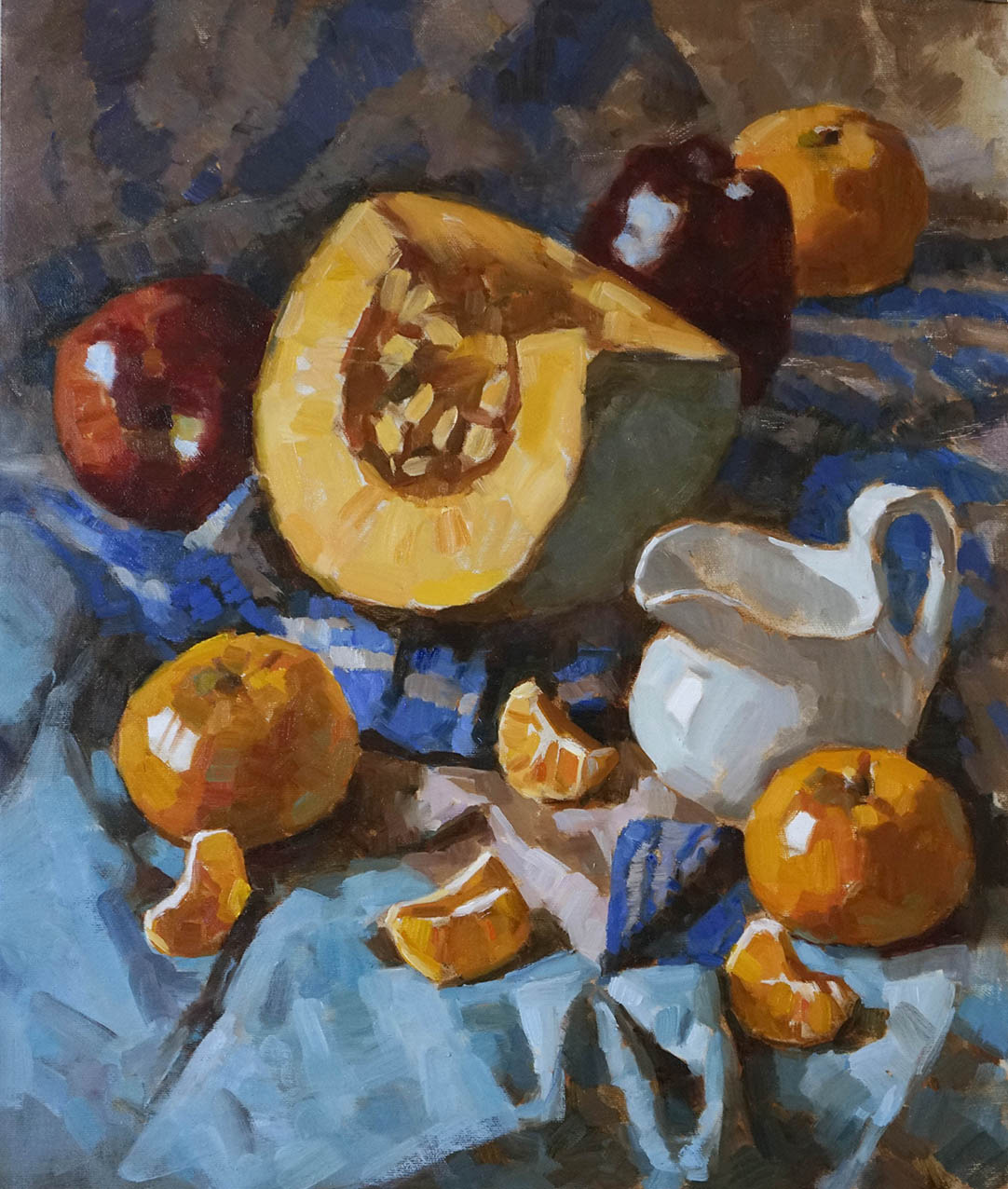 Pumpkin and Fruits.   Oil on Canvas  50 x 60 cm  2017