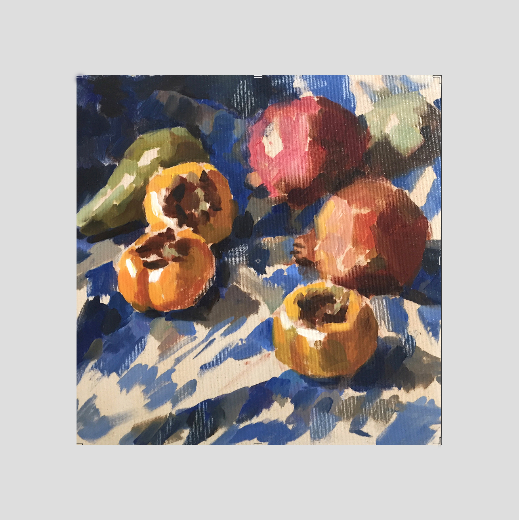 Fruits and Ikat Textile.   Oil. Canvas pasted on Cardboard.  30 x 30 cm  2016
