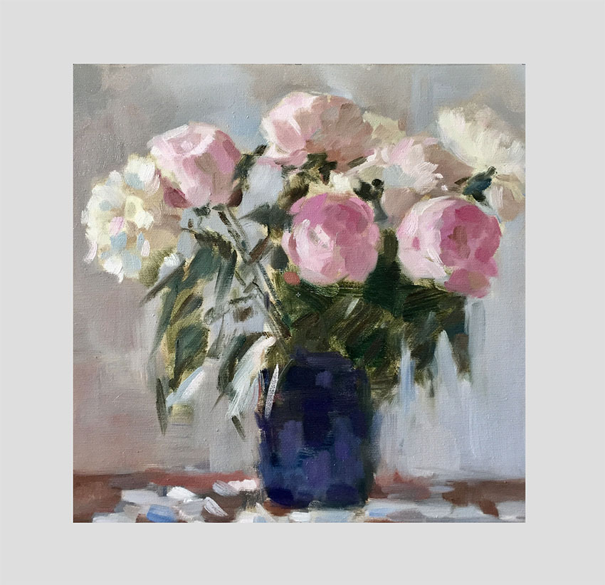 Peonies in Blue Vase   Oil on Canvas  30 x 30 cm  2016
