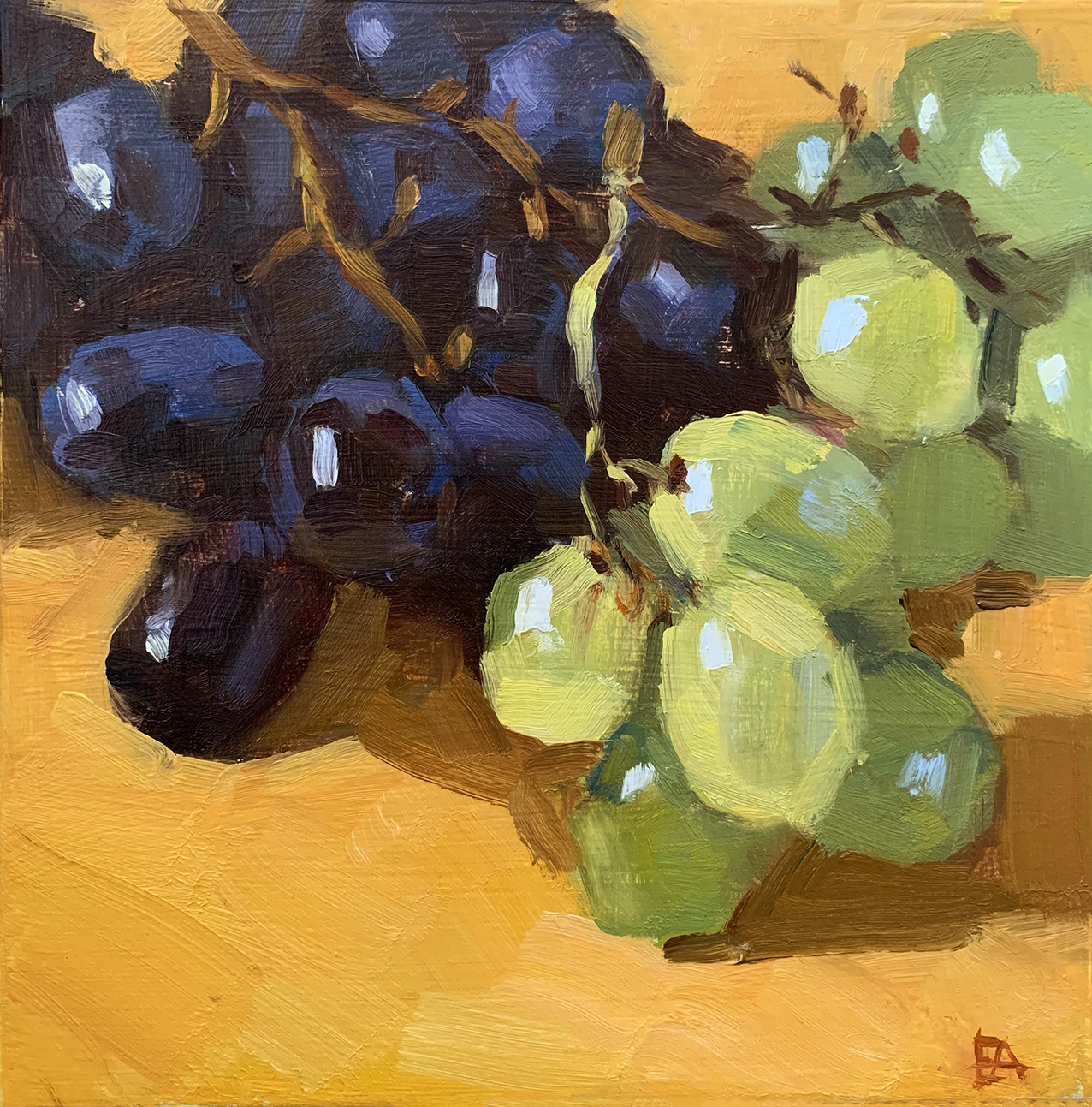 White and Black grapes.  Oil on canvas 20 x 20 cm  2019