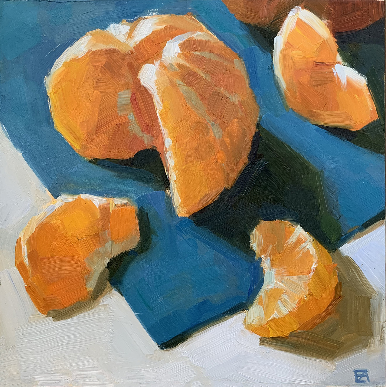 Mandarin and slices.    Oil on board 20 x 20 cm    2019