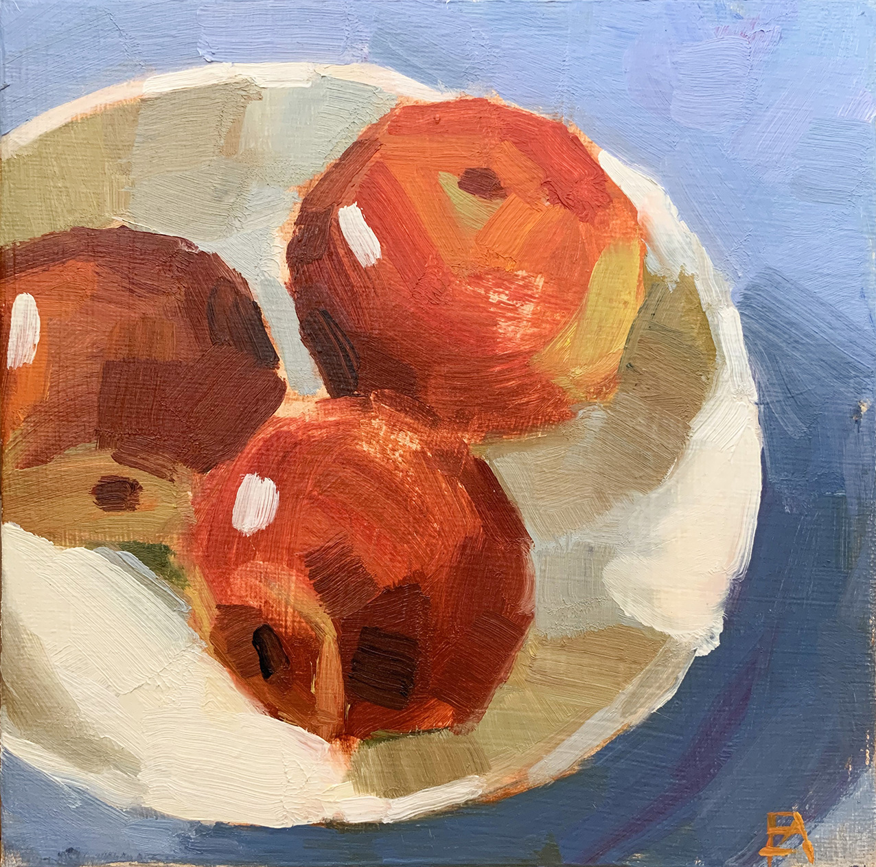 Three Apples   Oil on canvas 20 x 20 cm  2019