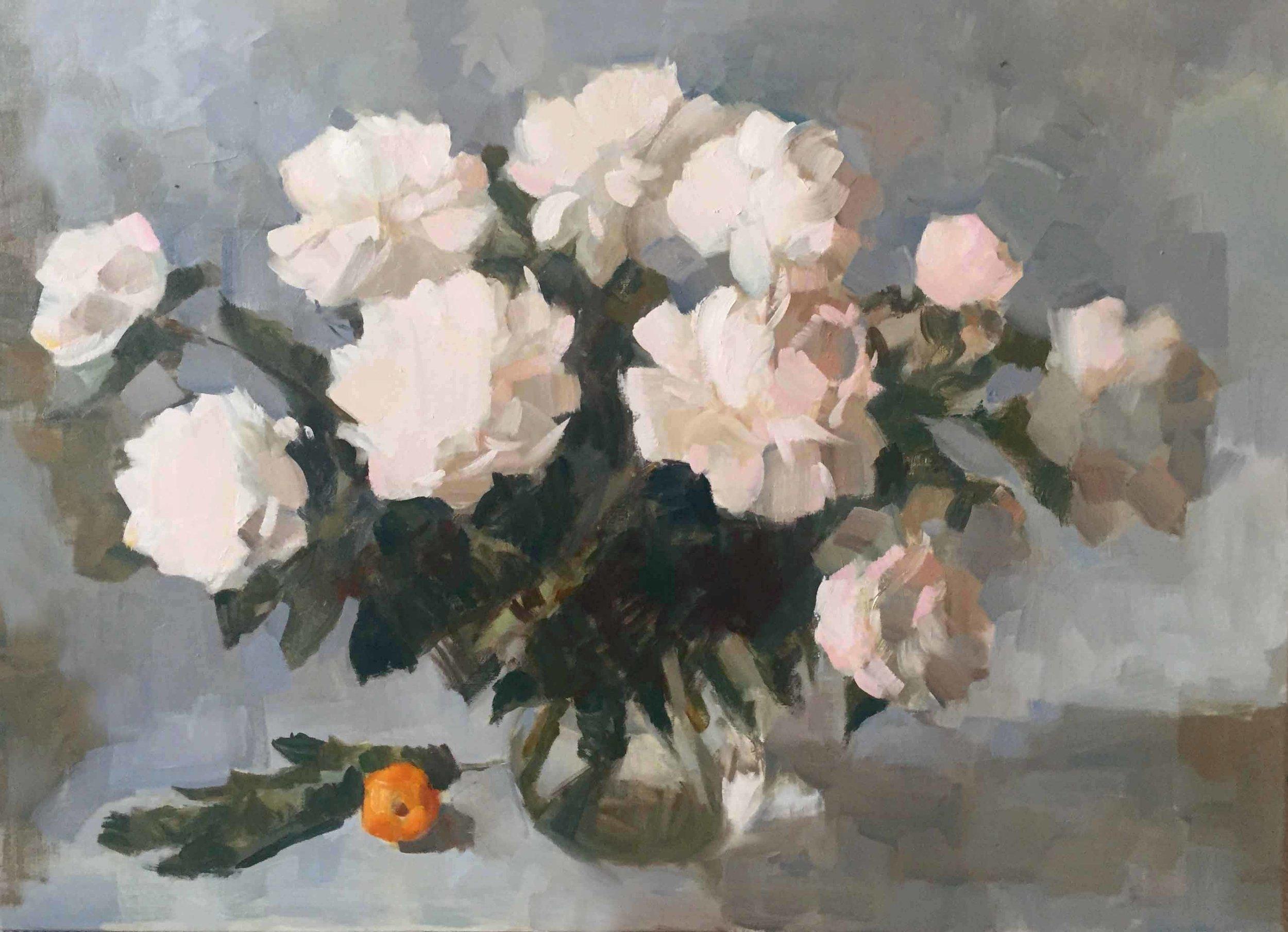 White Peonies.   Oil on Canvas   73 x 100 cm  2018