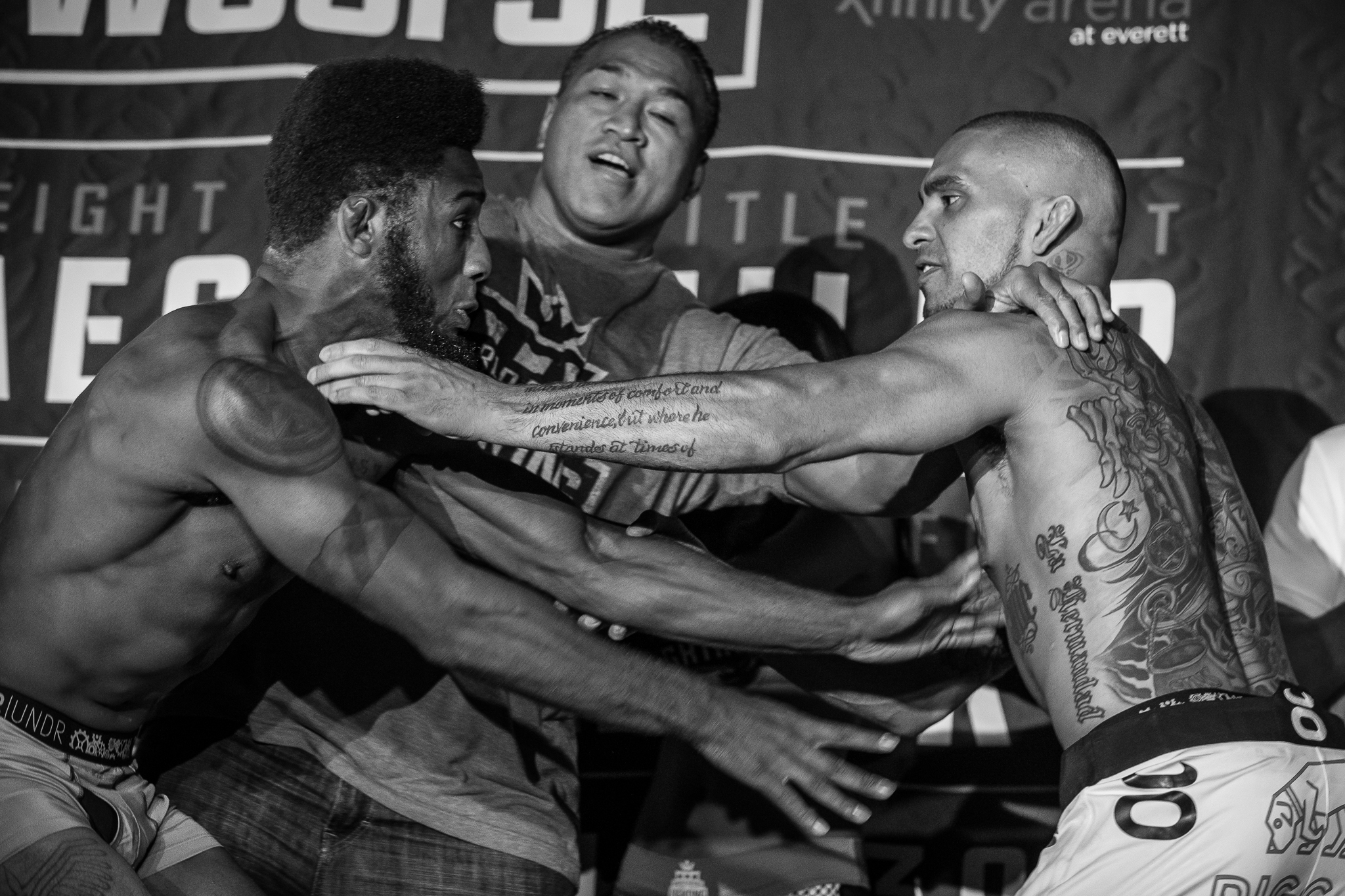 Words were said, pushing happened and WSOF President Ray Sefo had to step in between brothers Caros and Ben Fordor before things calmed down at the weigh ins.