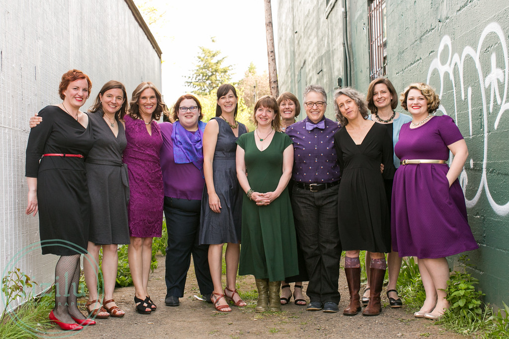 ltym:PORTLAND 2016 CAST From left to right: Amy McMullen, Susan Fleming, Becky Rude, Mandy Tuthill, Moi, Sue Campbell, Sandy Parks, Kate Carroll de Gutes, Leslie Williams, Rita Ott Ramstad, Kylene Moss Grell