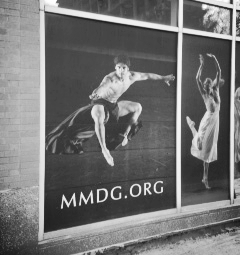 Domingo Estrada graces the front of the Mark Morris Dance Center