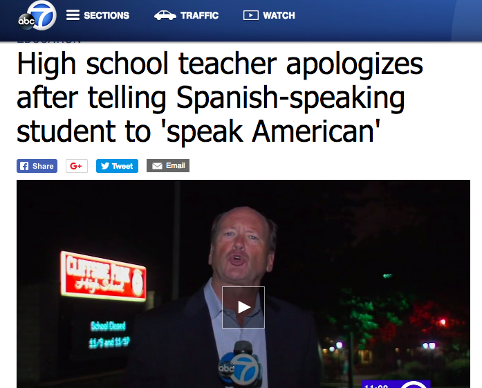 ABC News  - High school teacher apologizes after telling Spanish-speaking student to 'speak American'