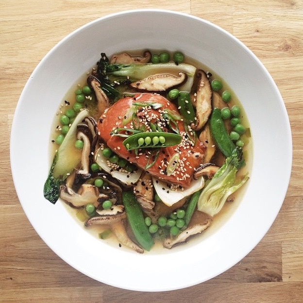 Running With Forks Warm Ginger Miso Broth and Roasted Wild King Salmon and Bok Choy and Sugar Snap Peas and English Peas and Shiitake Mushrooms